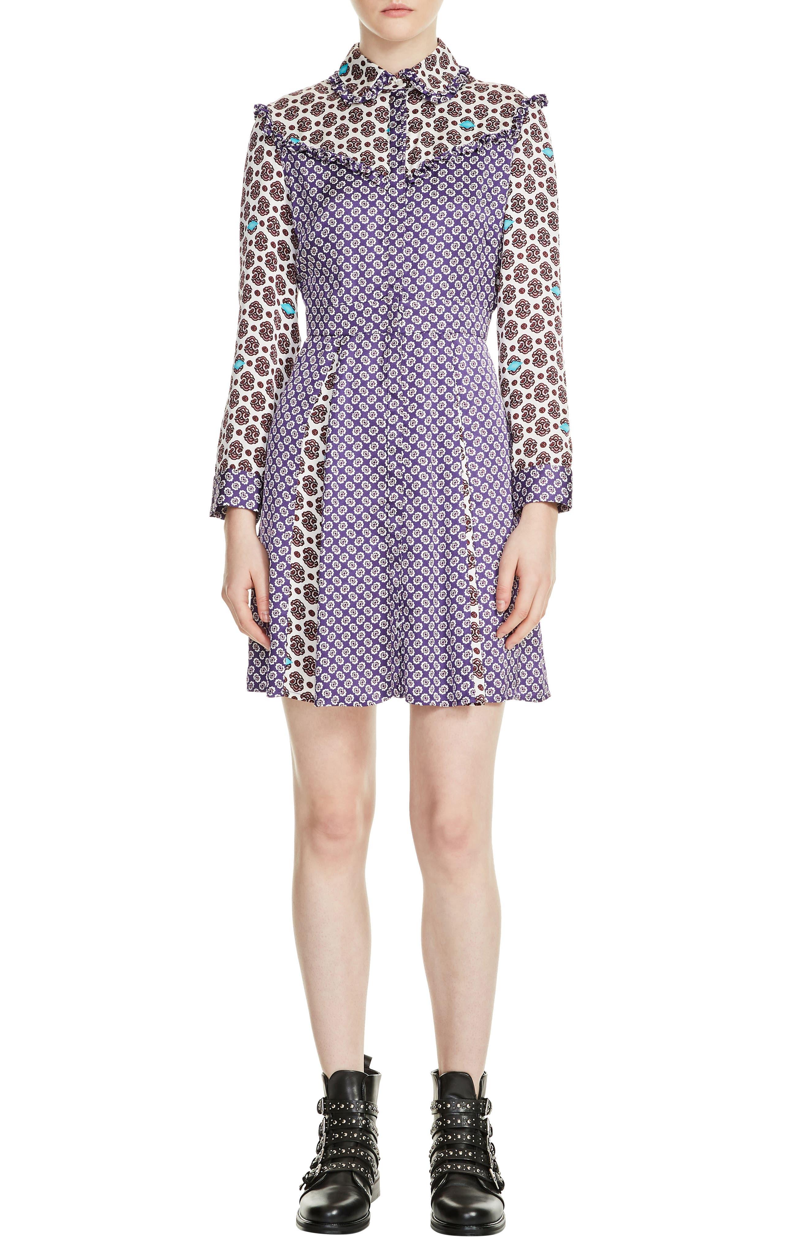 maje Reed Mixed Pattern Dress