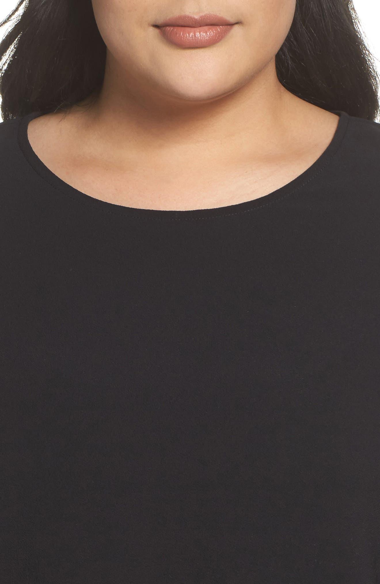 Bell Sleeve Ruffle Hem Blouse,                             Alternate thumbnail 4, color,                             Black