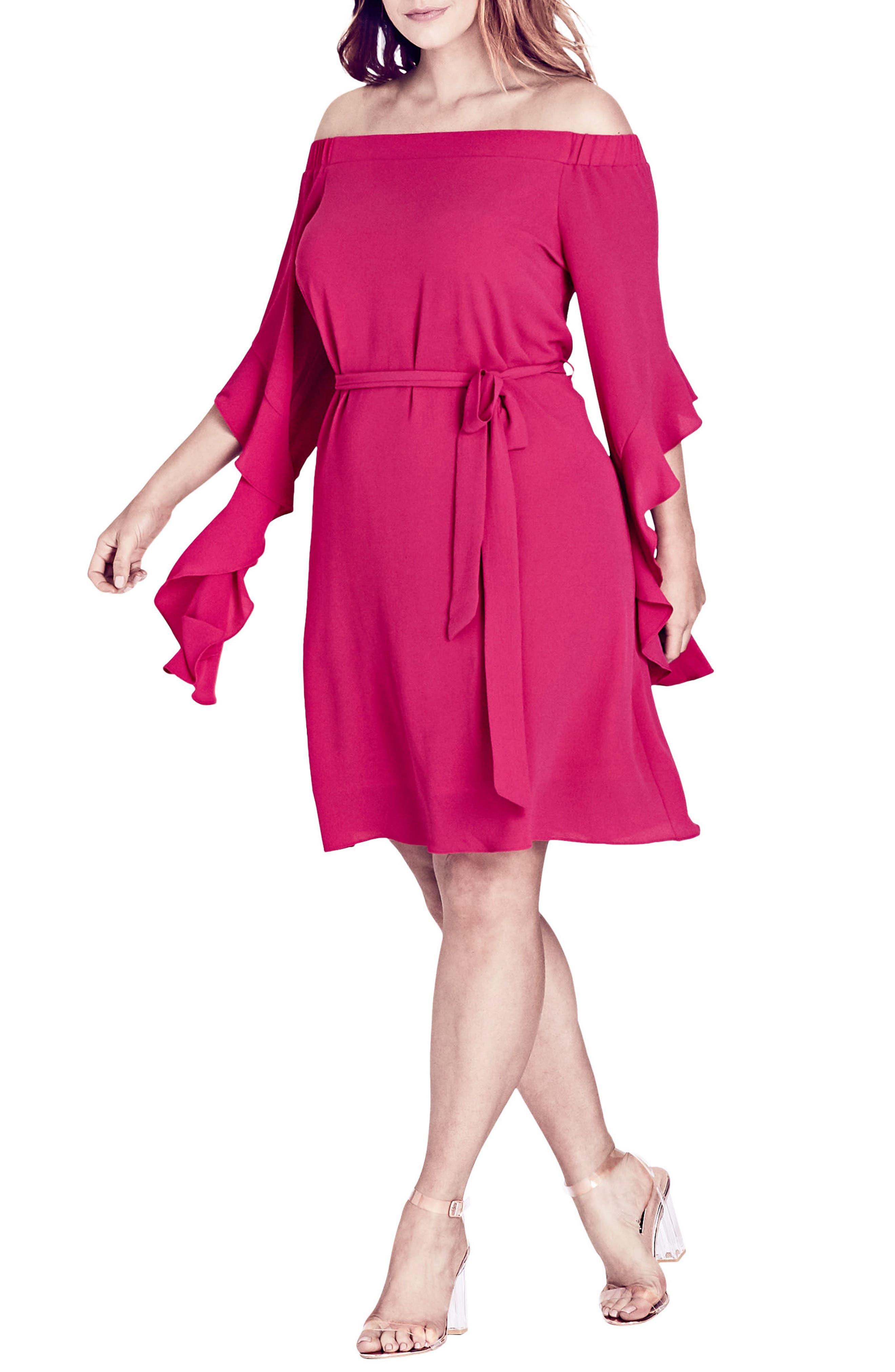 Main Image - City Chic Juliet Off the Shoulder Dress (Plus Size)
