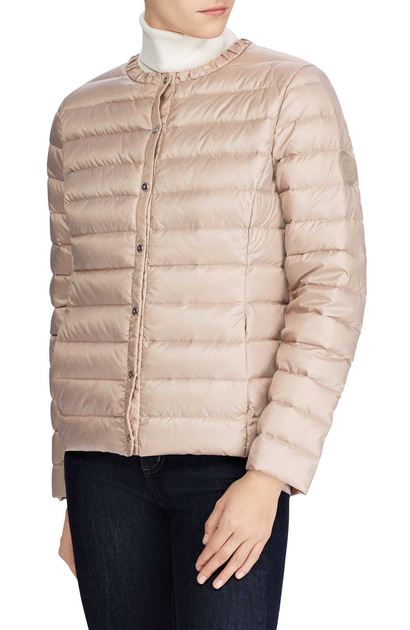 Packable Quilted Collarless Down Jacket,                             Main thumbnail 1, color,                             Luxe Chino