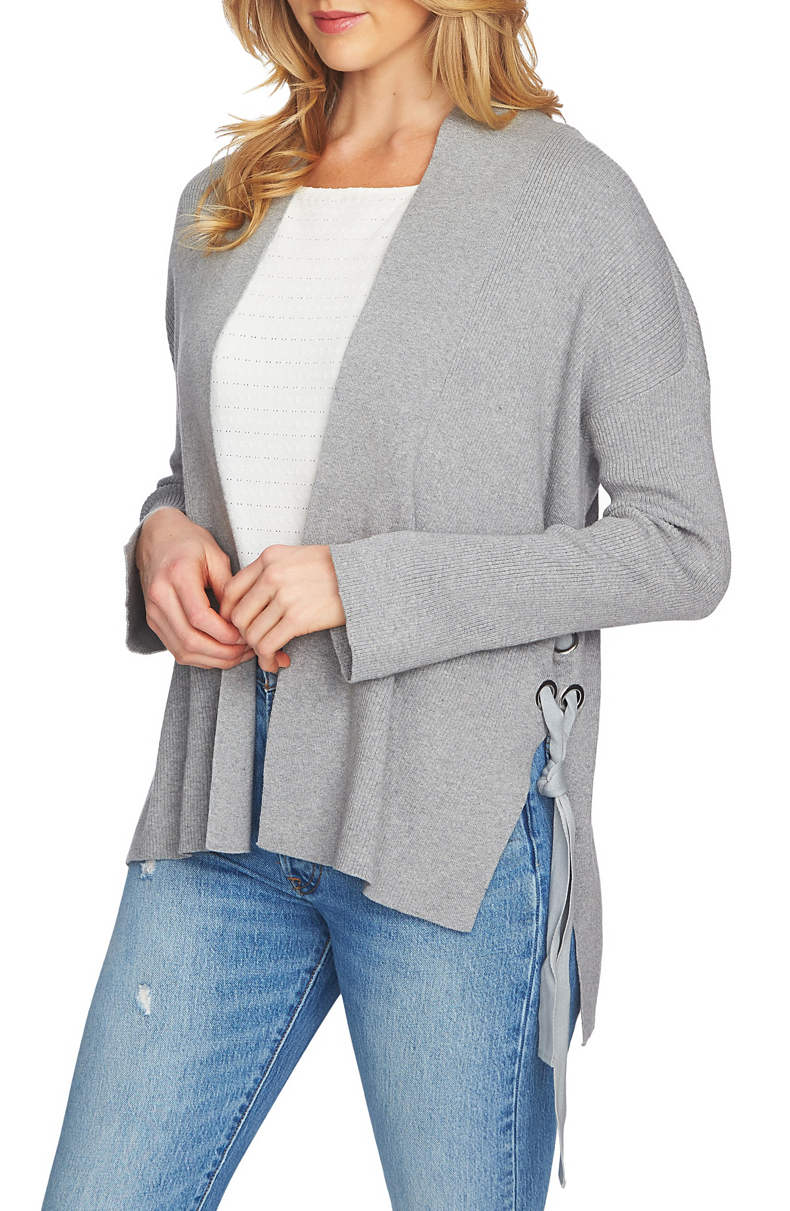 Side Lace-Up Cardigan,                         Main,                         color, Light Heather Grey