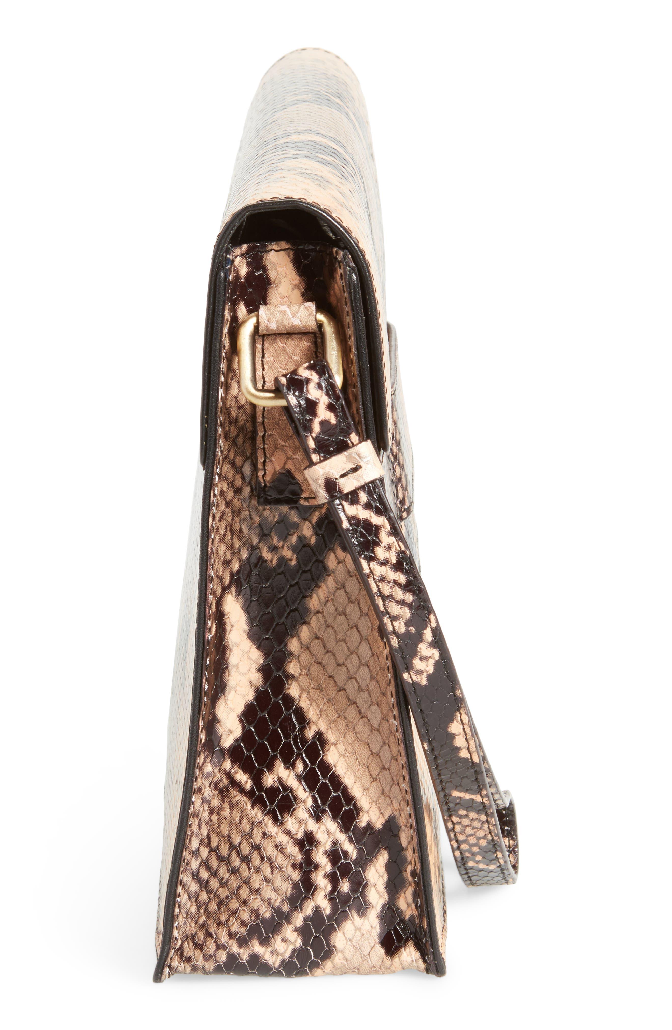 Snake Embossed Leather Wristlet Clutch,                             Alternate thumbnail 4, color,                             Camel