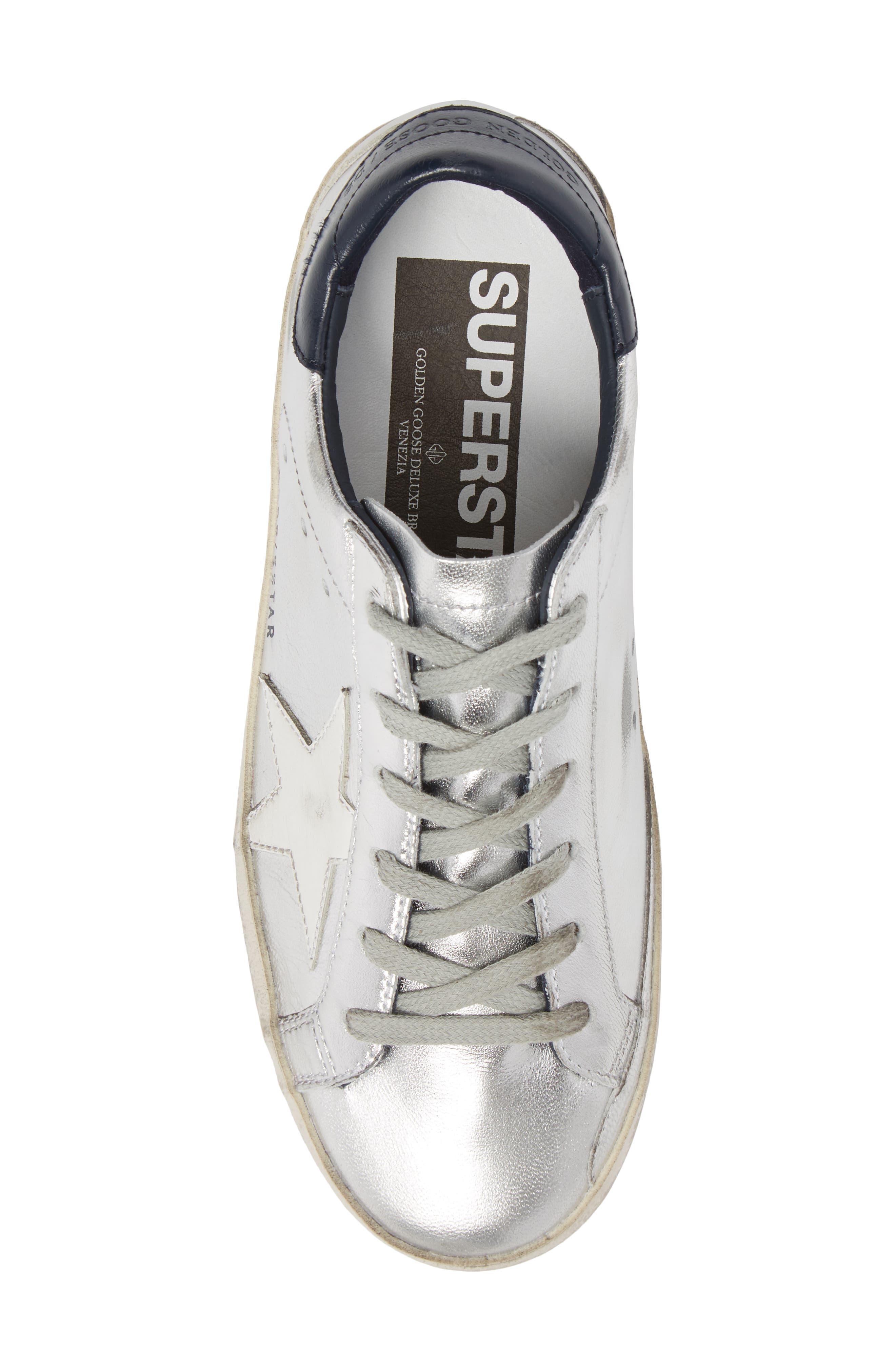 Superstar Metallic Low Top Sneaker,                             Alternate thumbnail 5, color,                             Silver
