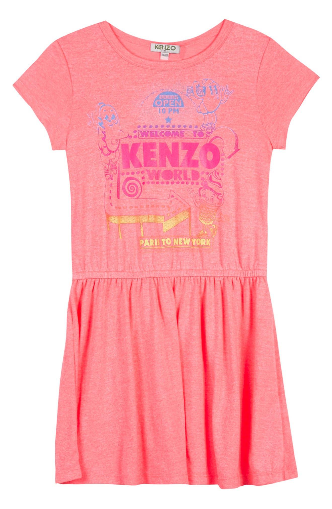 Logo Skater Dress,                             Main thumbnail 1, color,                             Coral