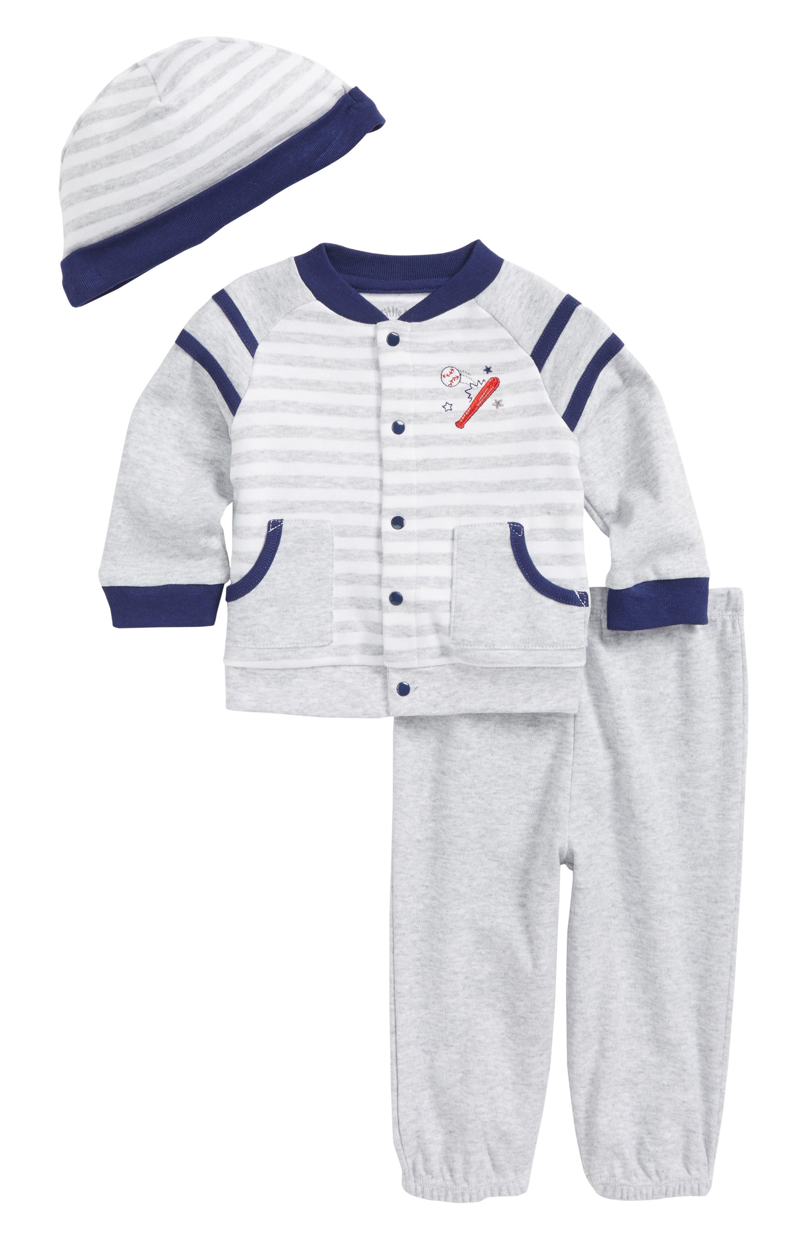 Baseball Cardigan, Pants & Beanie Set,                         Main,                         color, Heather Gray
