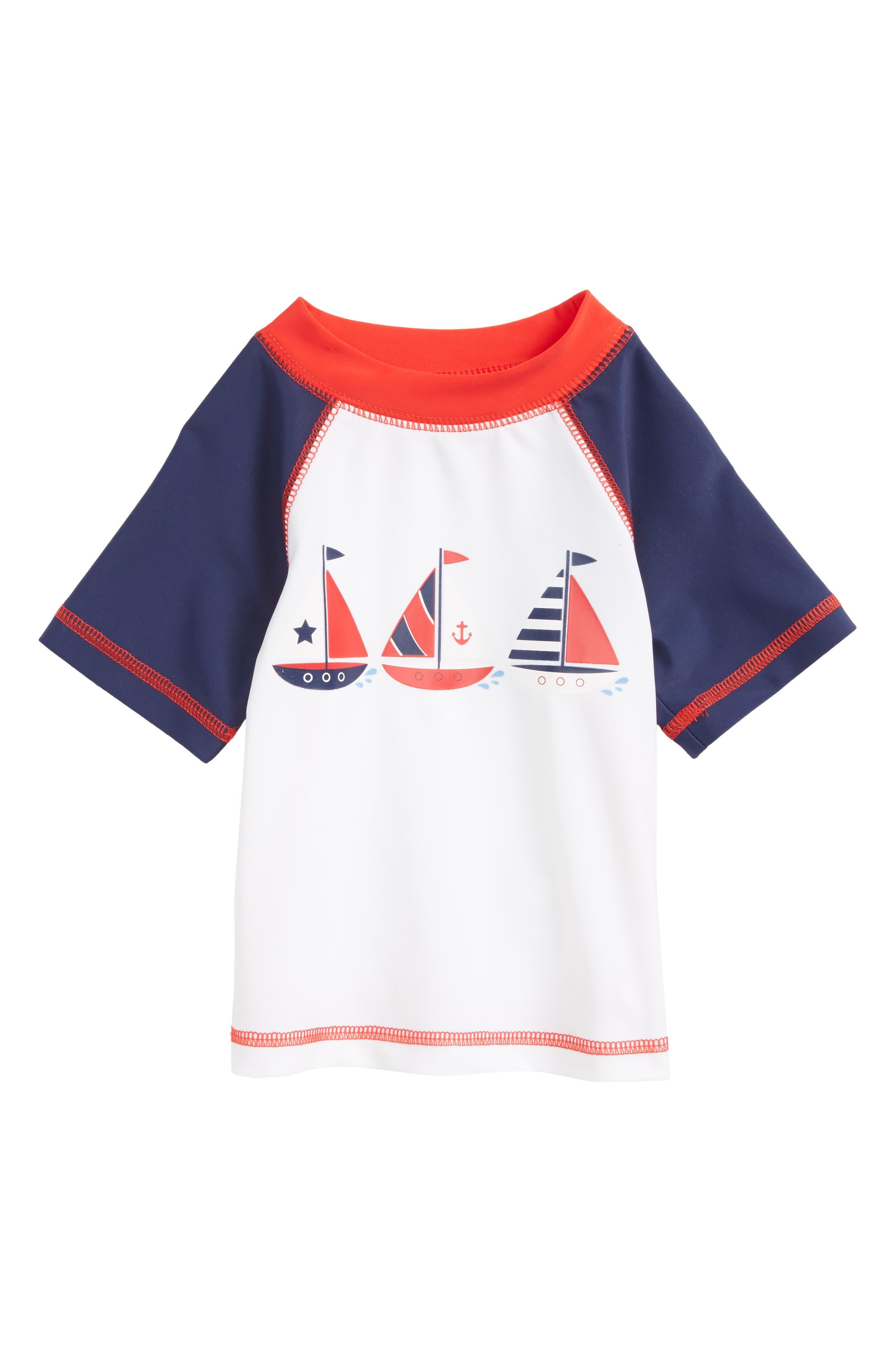 Main Image - Little Me Sailboat UPF 50+ Rashguard (Baby Boys)