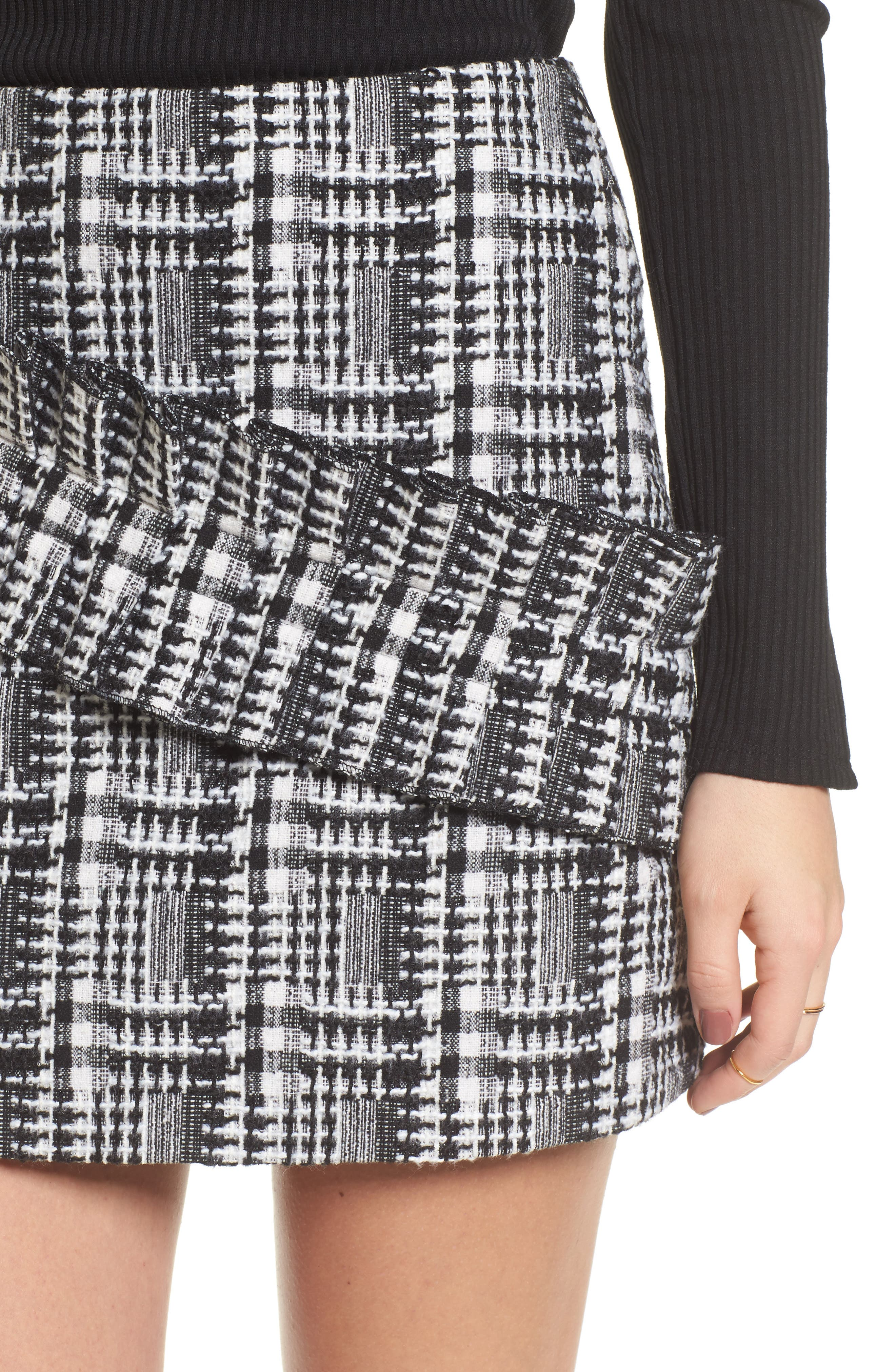 Ruffle Tweed Skirt,                             Alternate thumbnail 4, color,                             Black Plaid