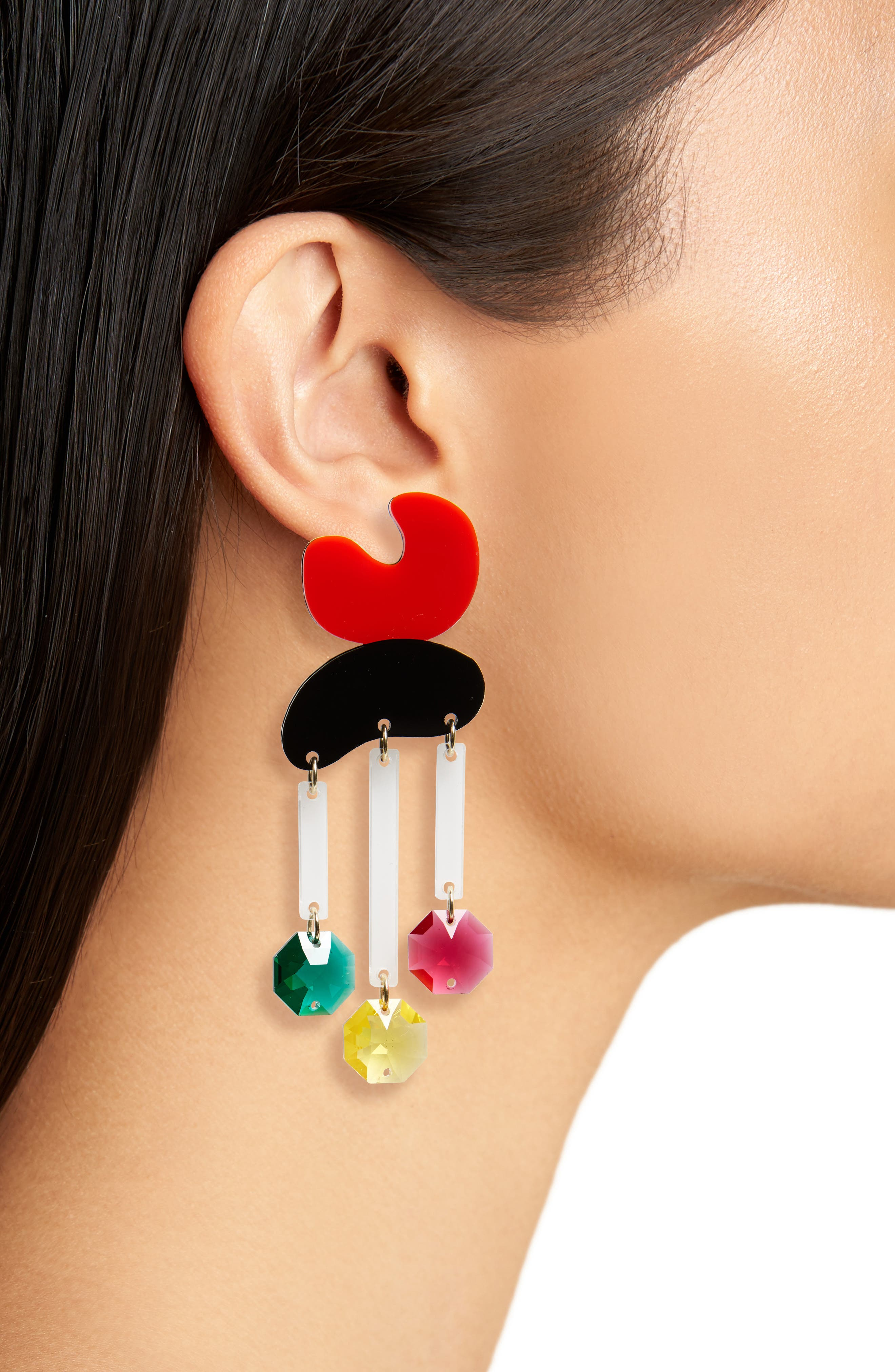 Crystal Rain Statement Earrings,                             Alternate thumbnail 2, color,                             Red