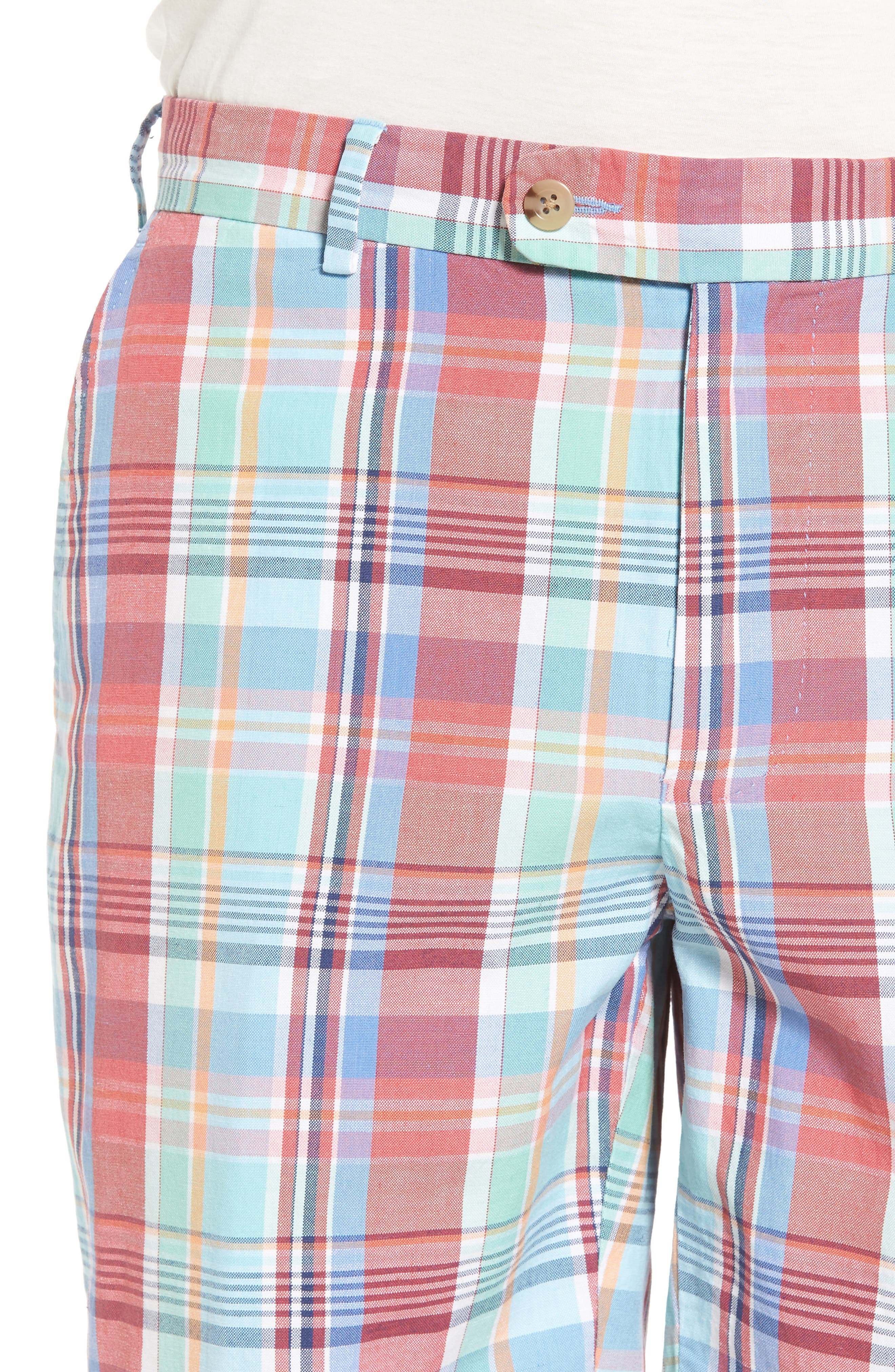 Seaside Madras Plaid Shorts,                             Alternate thumbnail 4, color,                             Cape Red