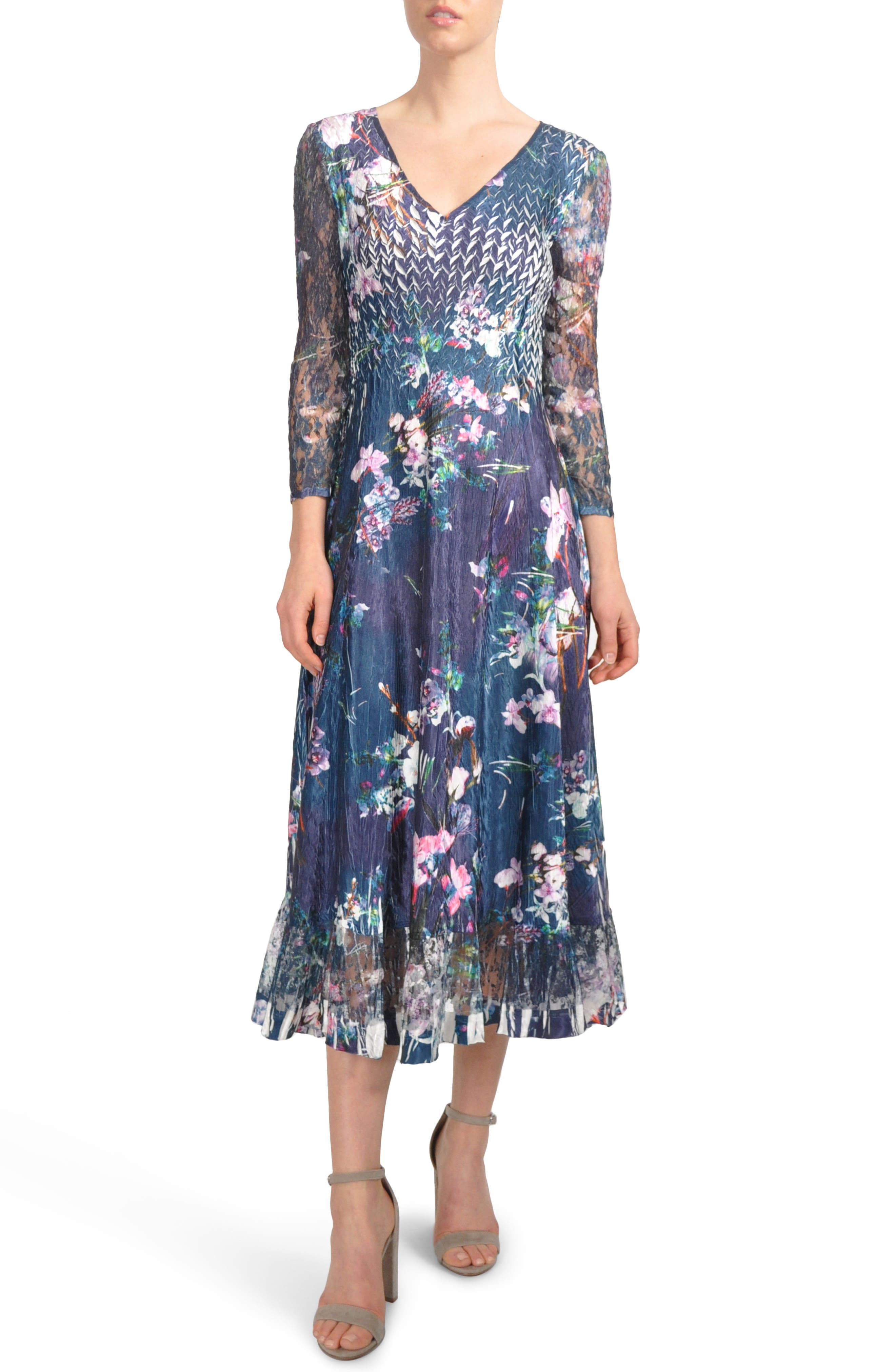 Lace Inset Print Charmeuse A-Line Dress,                             Main thumbnail 1, color,                             Pixel Meadow