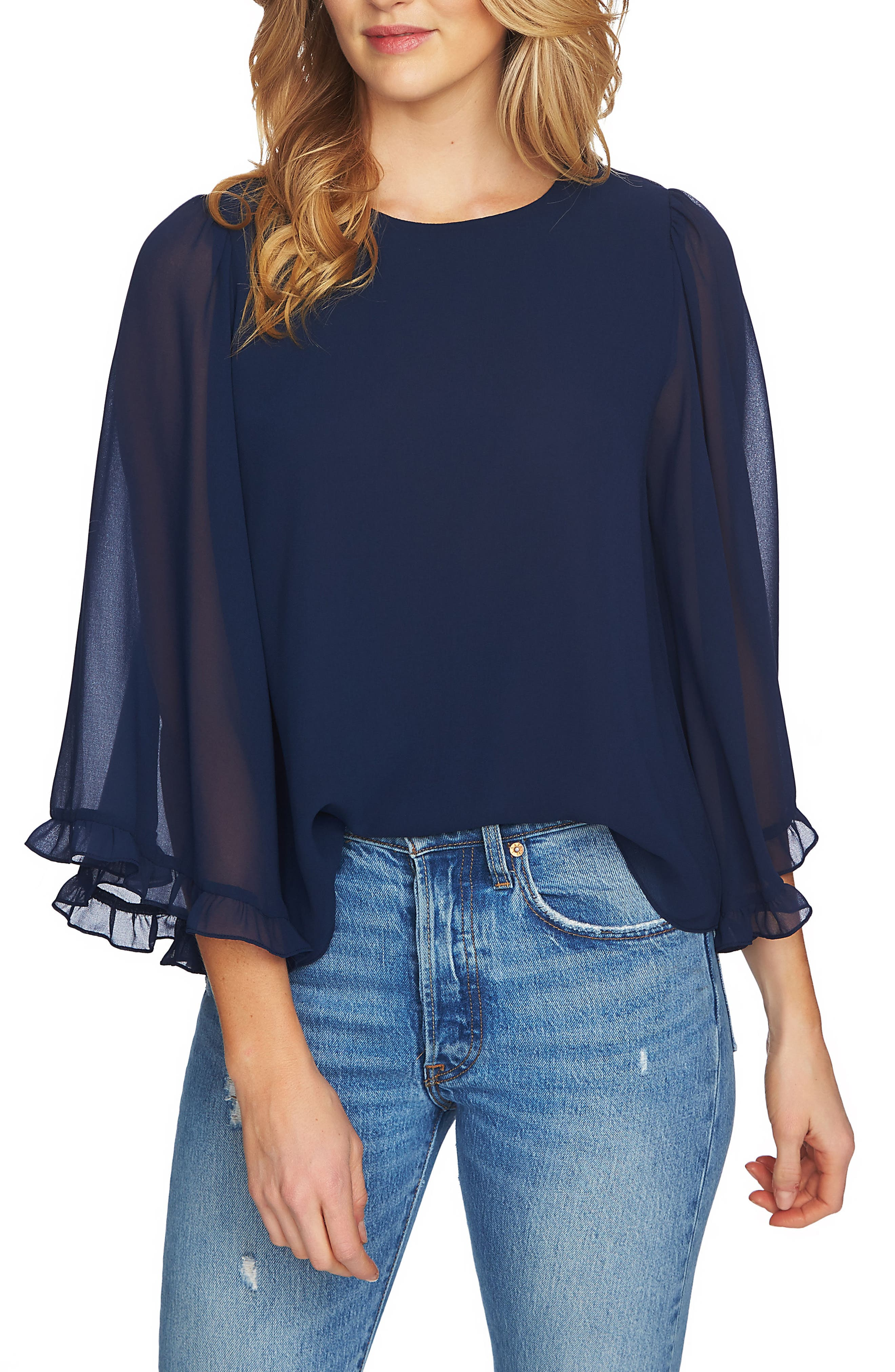 Bell Sleeve Blouse,                         Main,                         color, Navy Yard