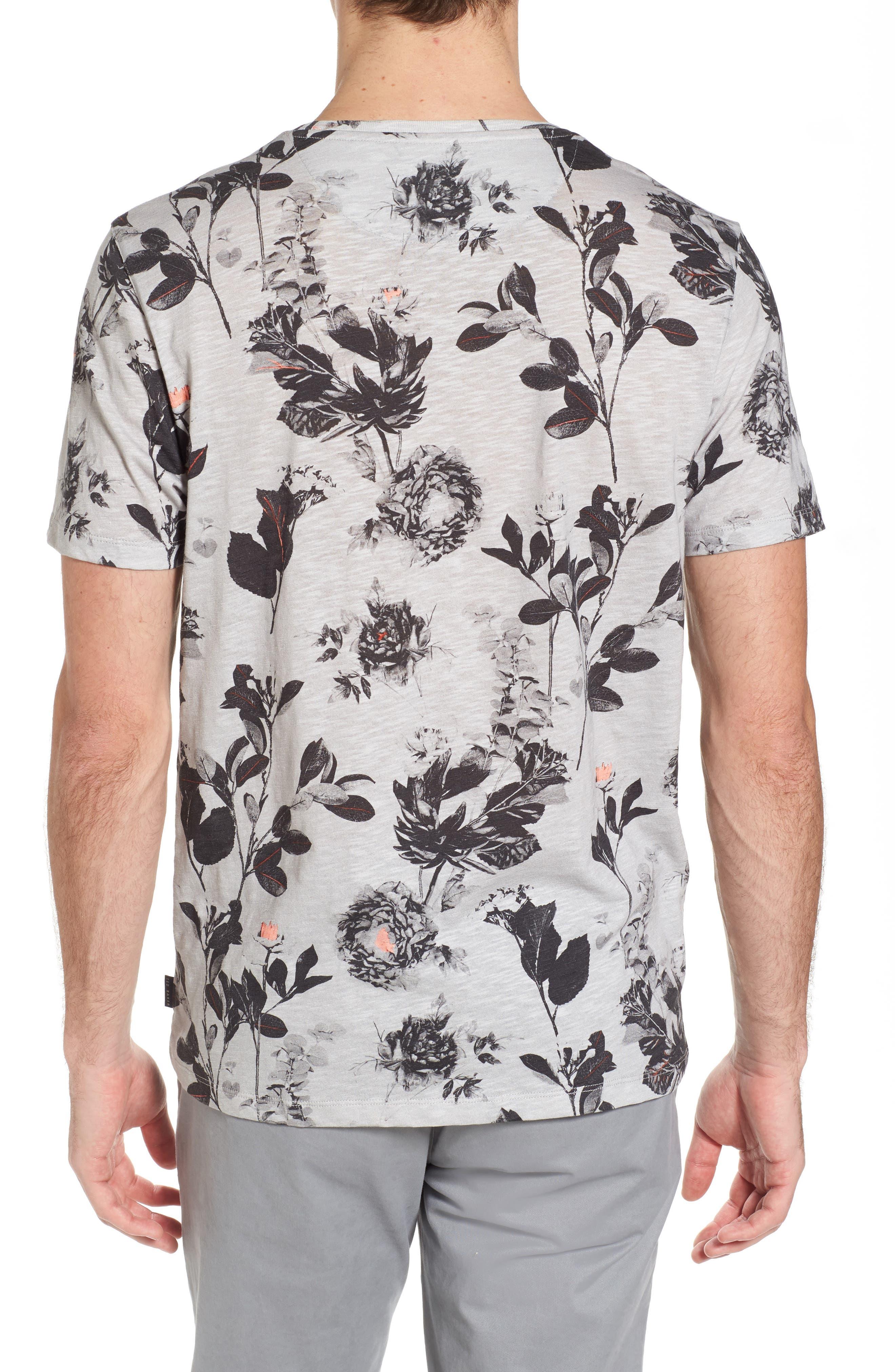Doberma Trim Fit Floral Print T-Shirt,                             Alternate thumbnail 2, color,                             Grey
