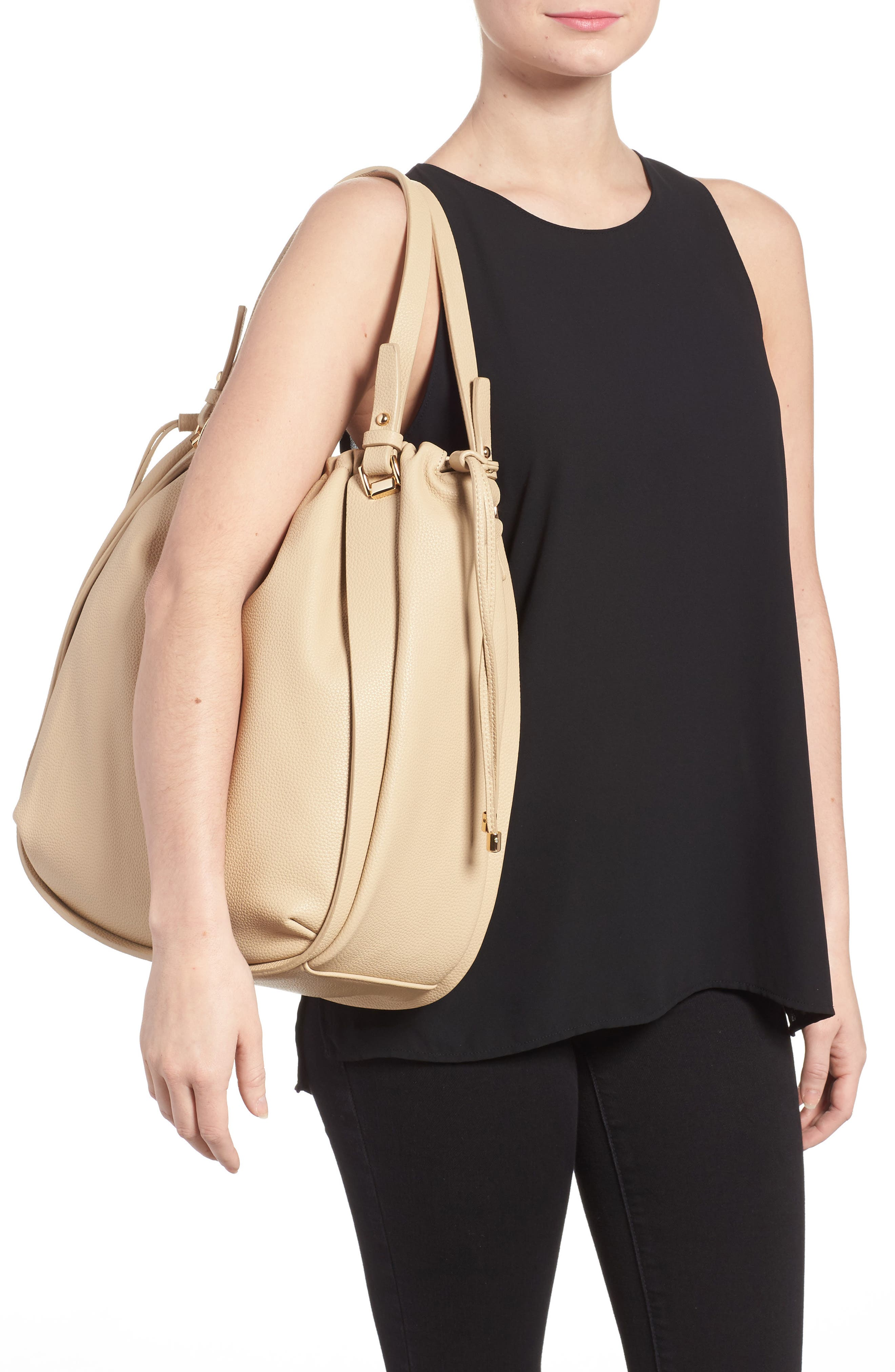 Faux Leather Drawstring Tote,                             Alternate thumbnail 2, color,                             Taupe
