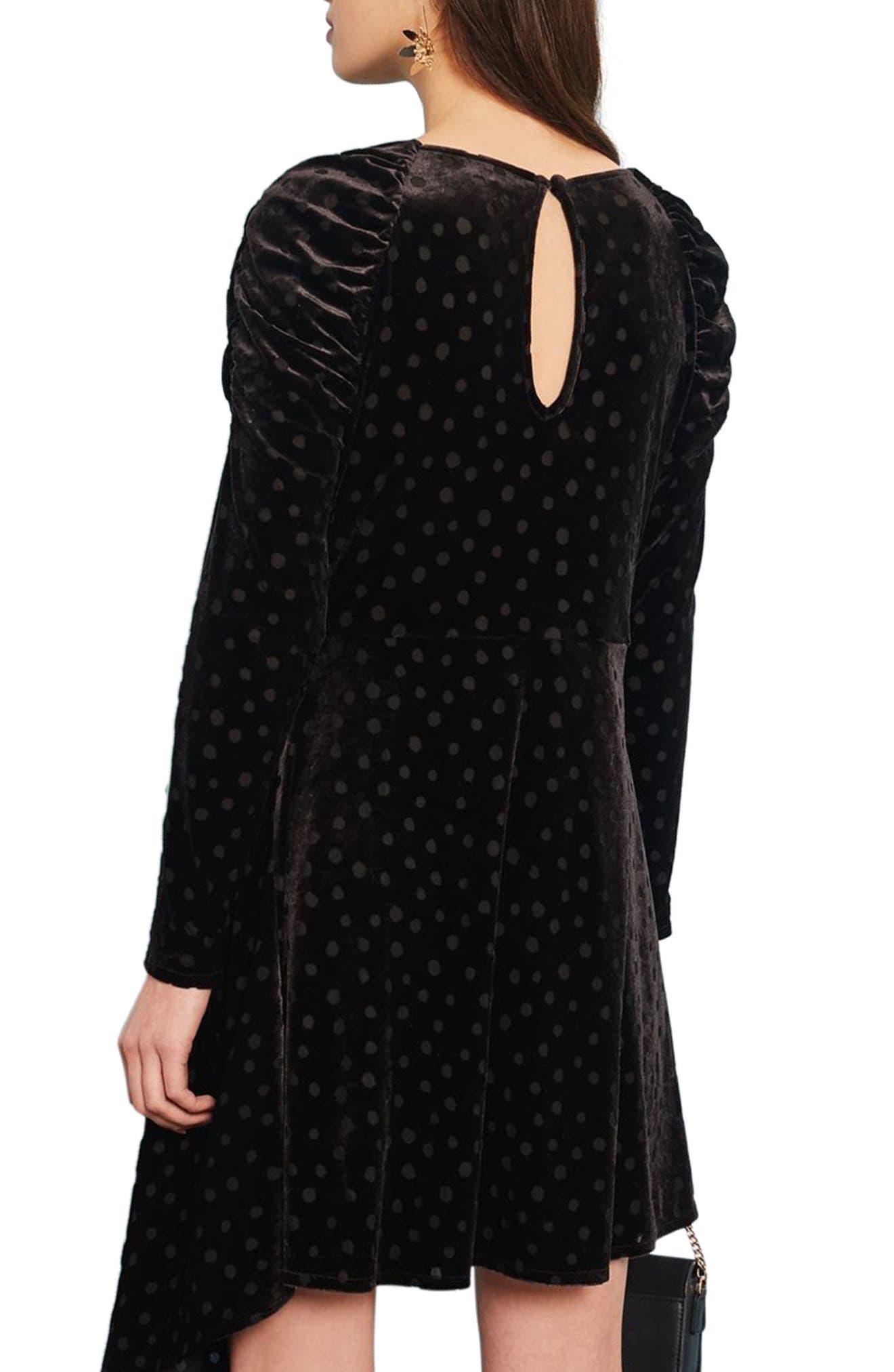 Polka Dot Velvet Burnout Dress,                             Alternate thumbnail 2, color,                             Black