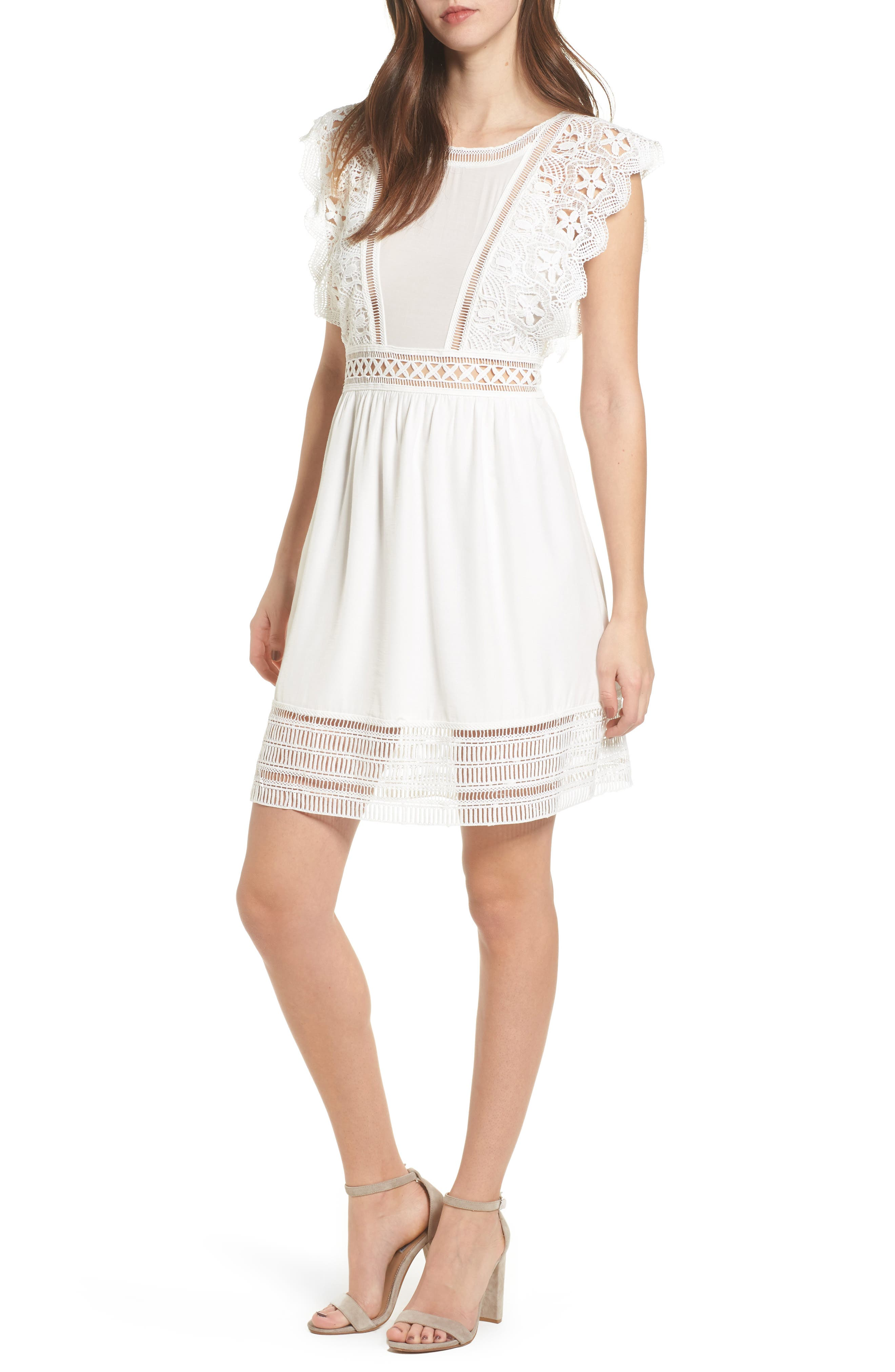 Lace Trim Babydoll Dress,                             Main thumbnail 1, color,                             White