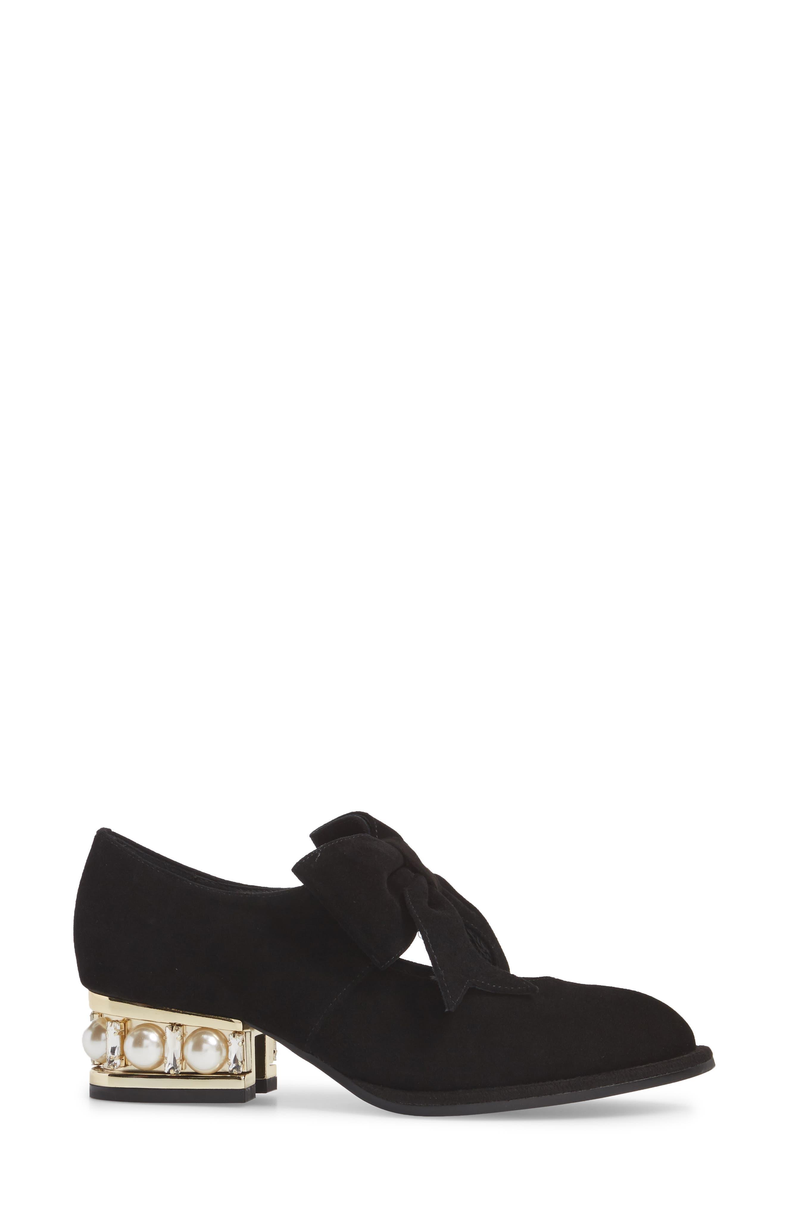 Cordene Embellished Bow Pump,                             Alternate thumbnail 3, color,                             Black/ Gold Suede