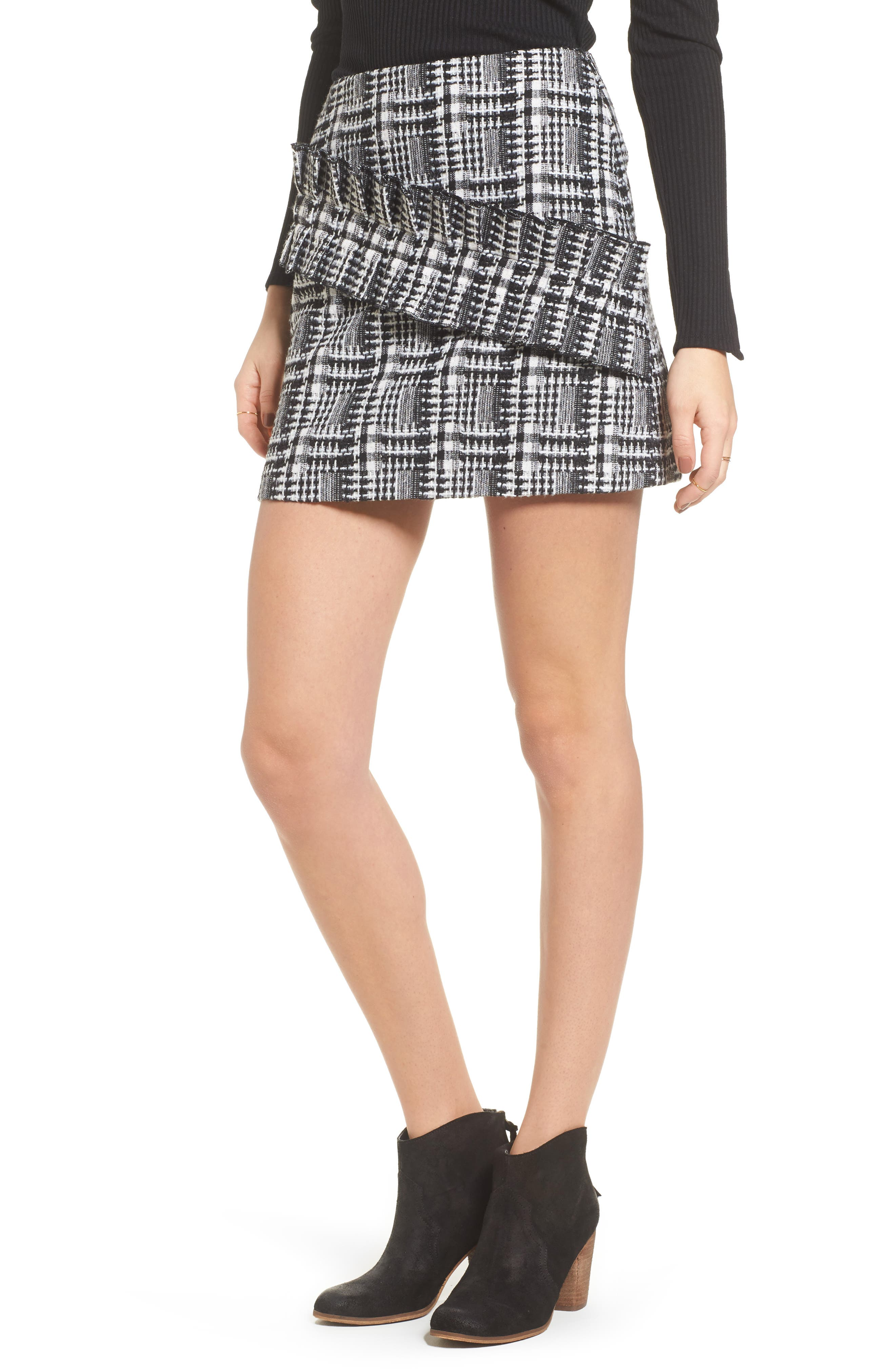 Ruffle Tweed Skirt,                         Main,                         color, Black Plaid