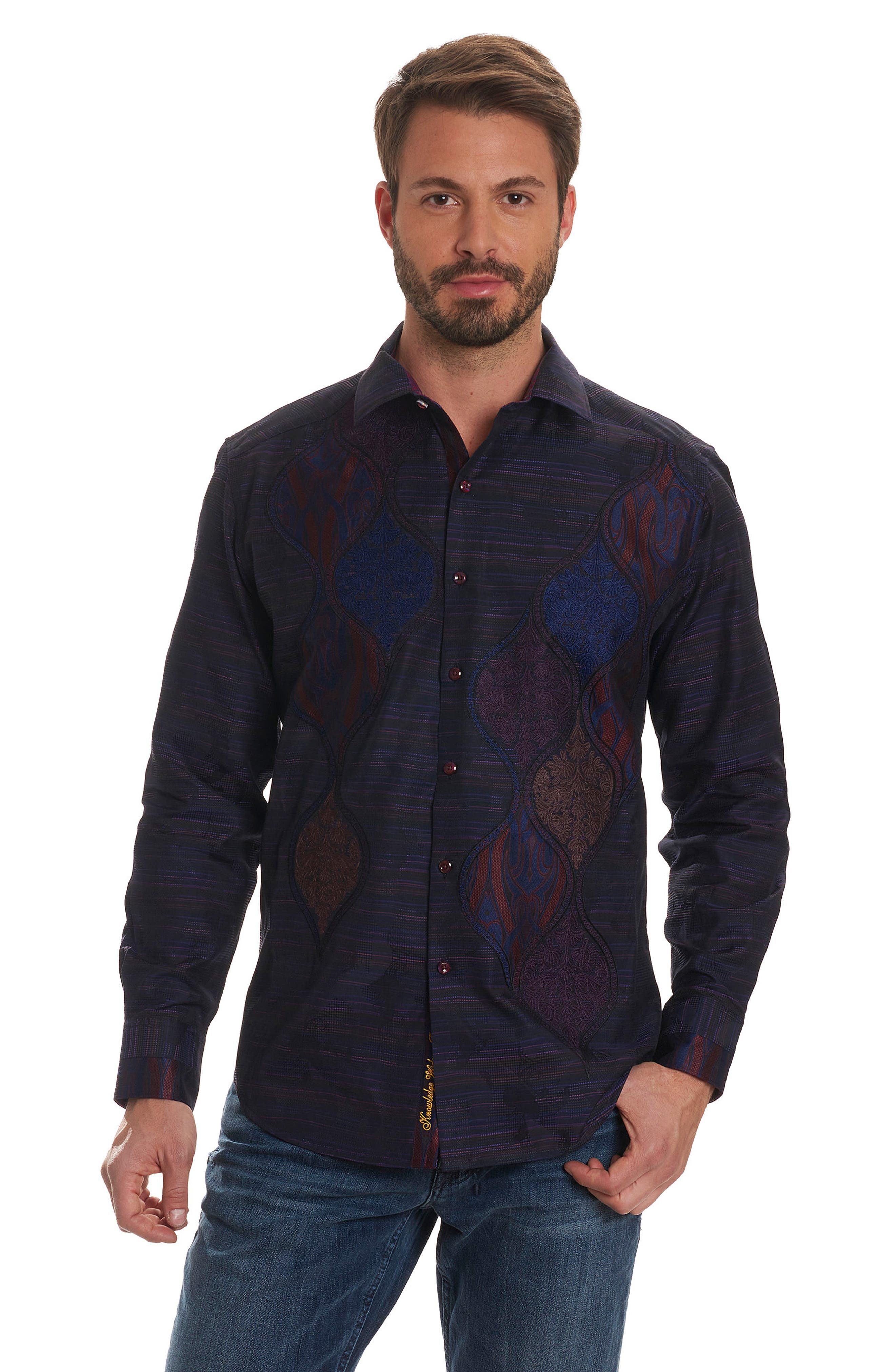 El Rey Classic Fit Embroidered Sport Shirt,                             Alternate thumbnail 8, color,                             Purple