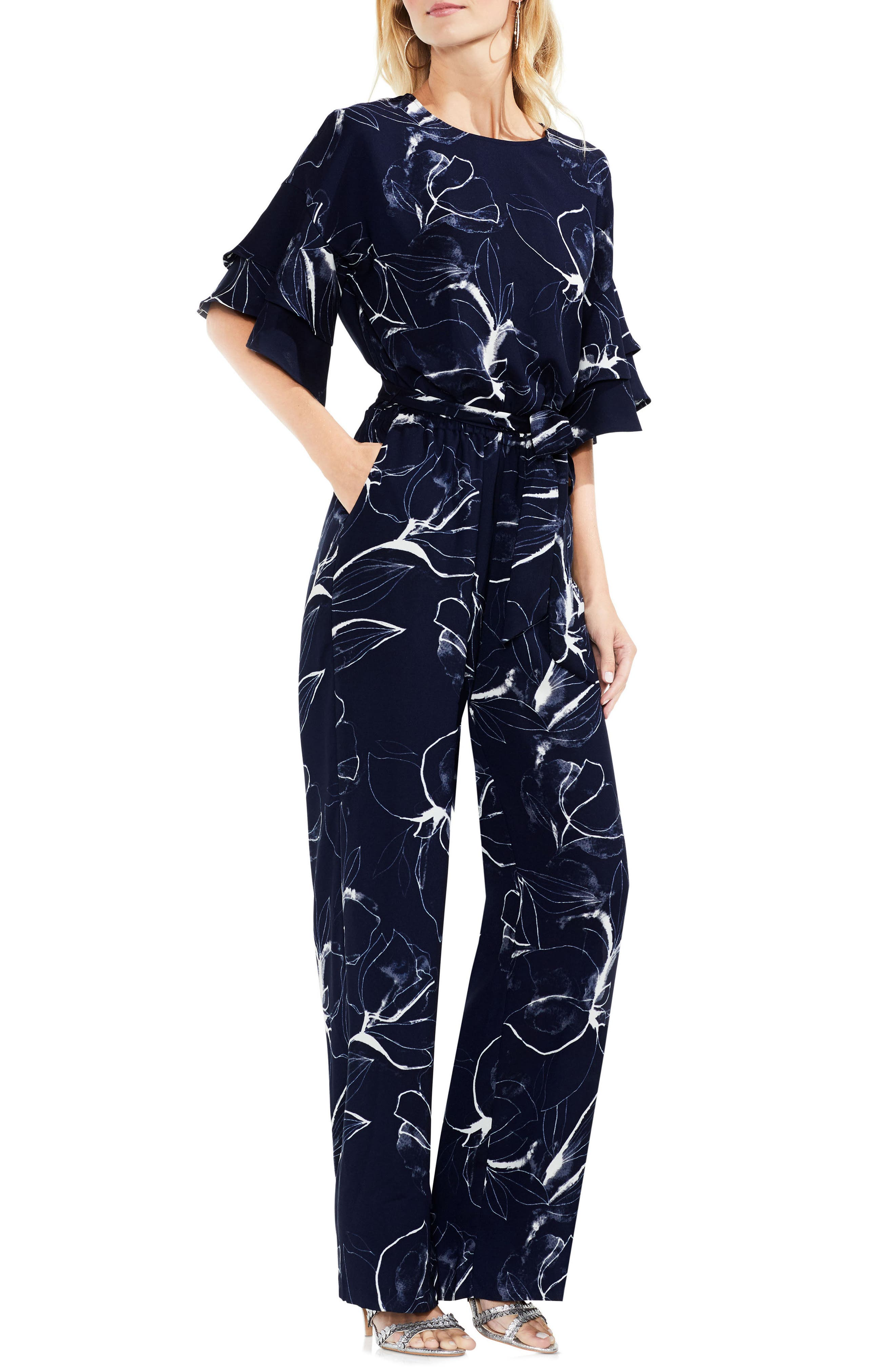 Vince Camuto Fresco Petals Ruffle Sleeve Belted Jumpsuit