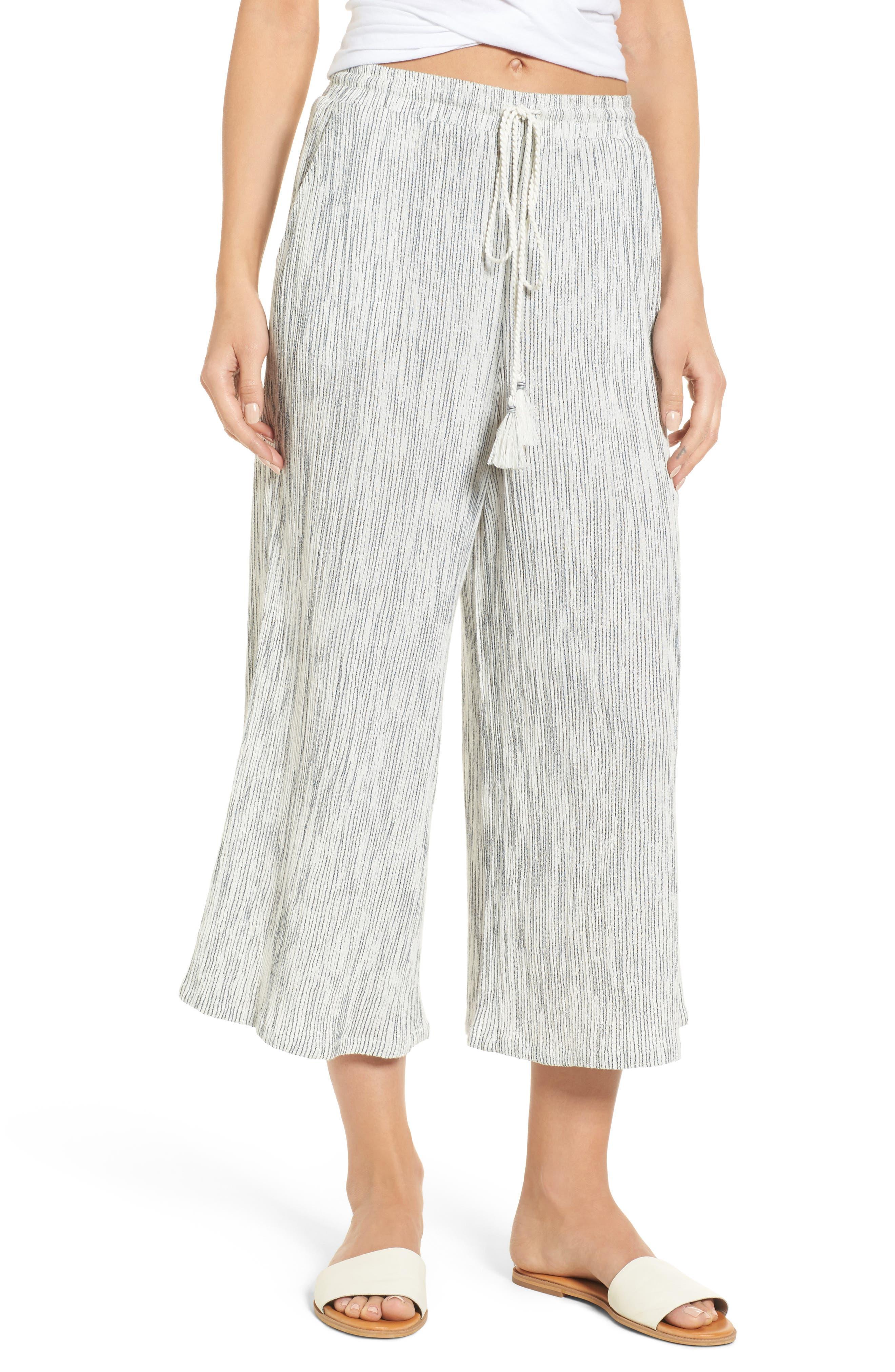 Crinkled Wide Leg Crop Pants,                             Main thumbnail 1, color,                             Ivory Angel Stripe