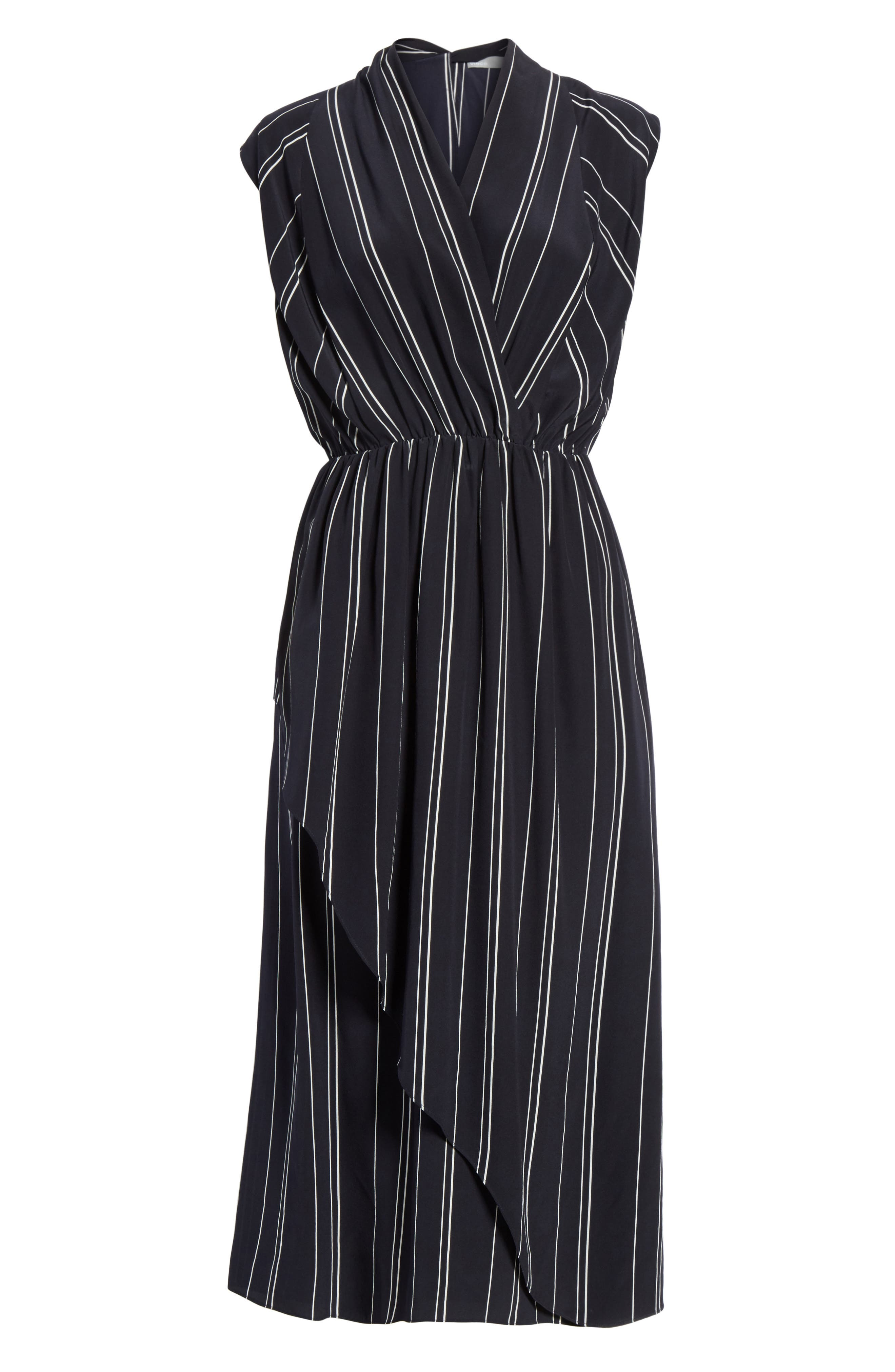 Draped Front Stripe Silk Midi Dress,                             Alternate thumbnail 6, color,                             Coastal