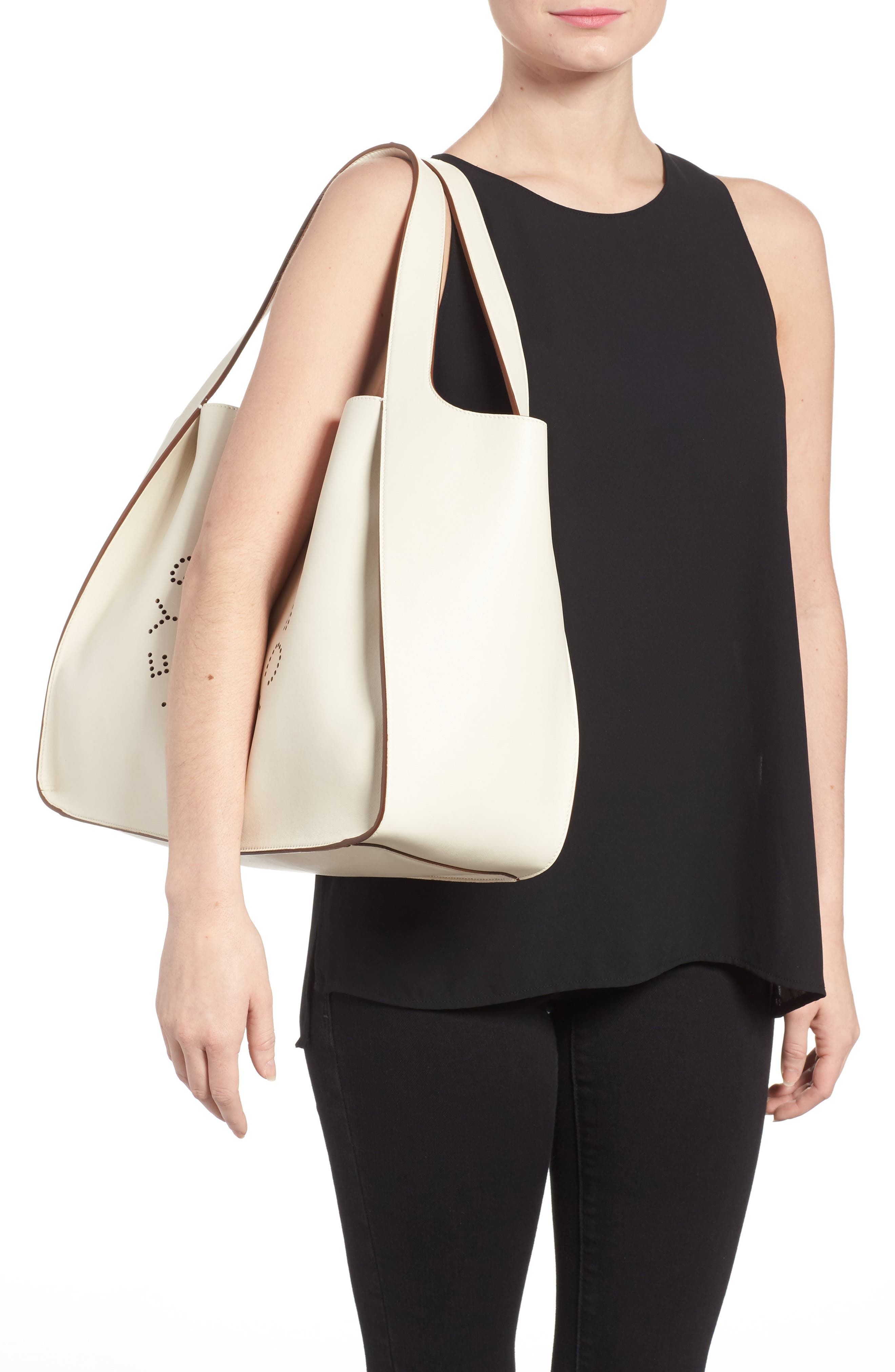 Medium Perforated Logo Faux Leather Tote,                             Alternate thumbnail 2, color,                             Pure White