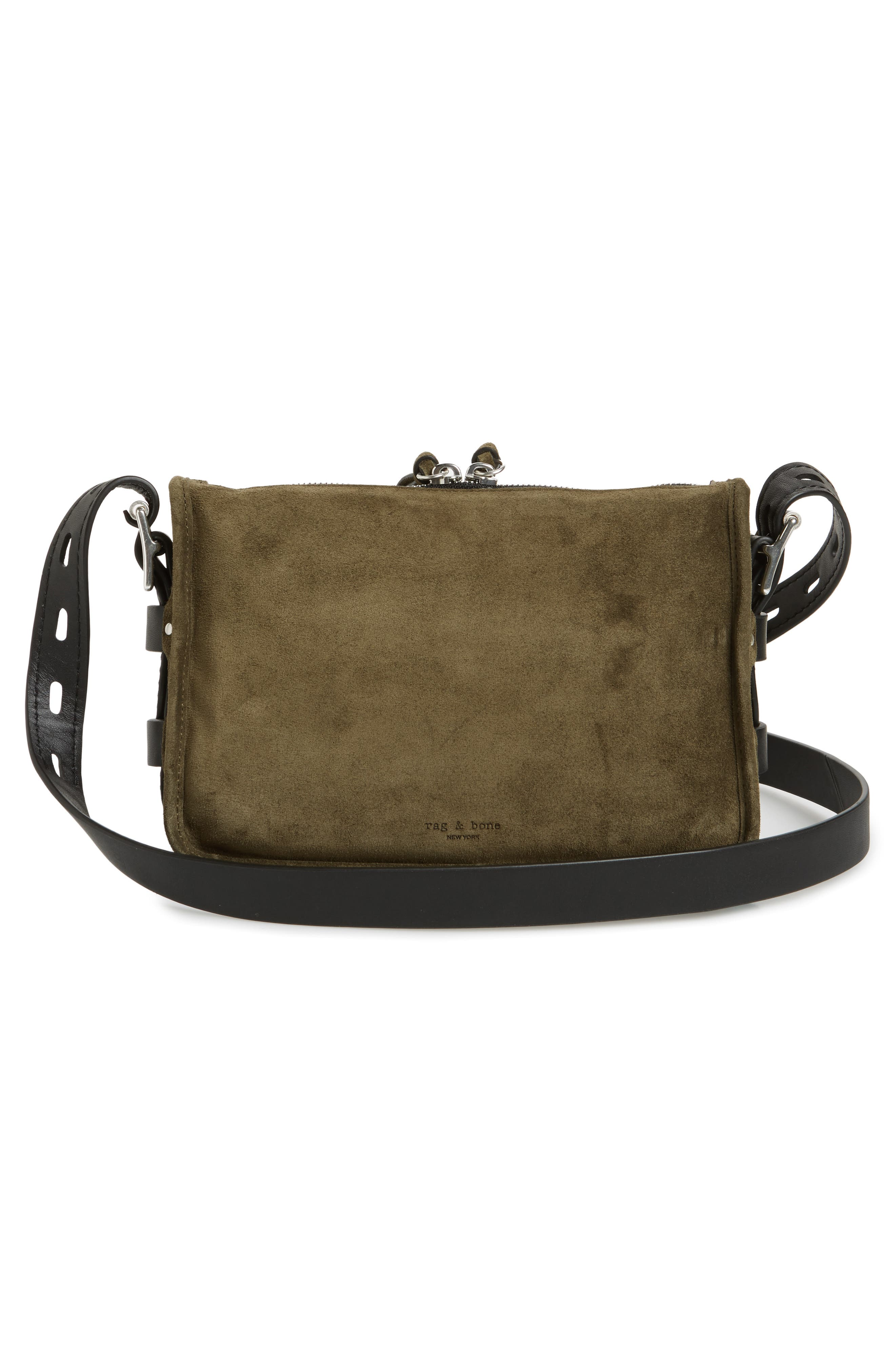 Small Leather Field Messenger Bag,                             Alternate thumbnail 3, color,                             Olive Suede