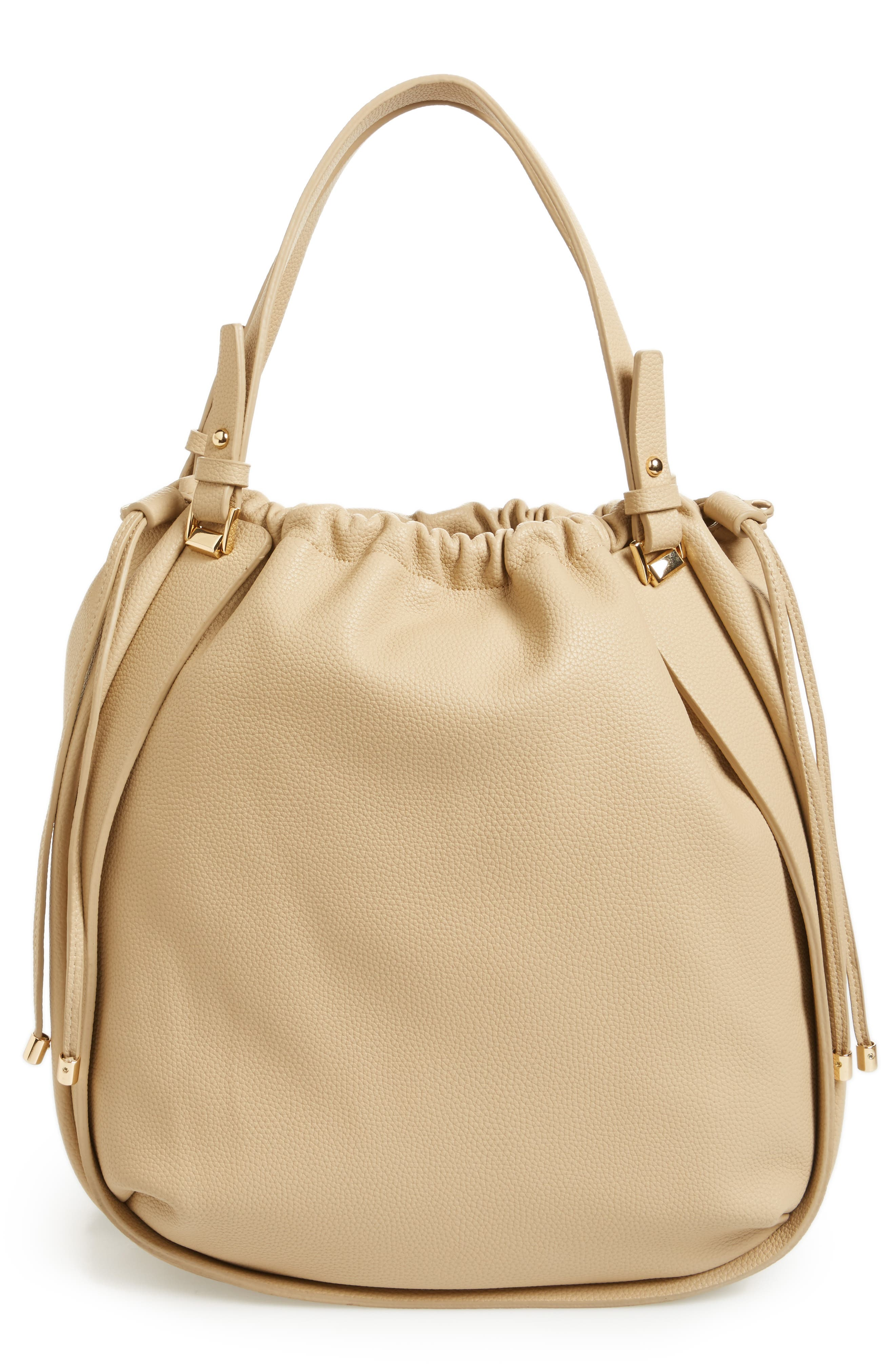Faux Leather Drawstring Tote,                             Main thumbnail 1, color,                             Taupe