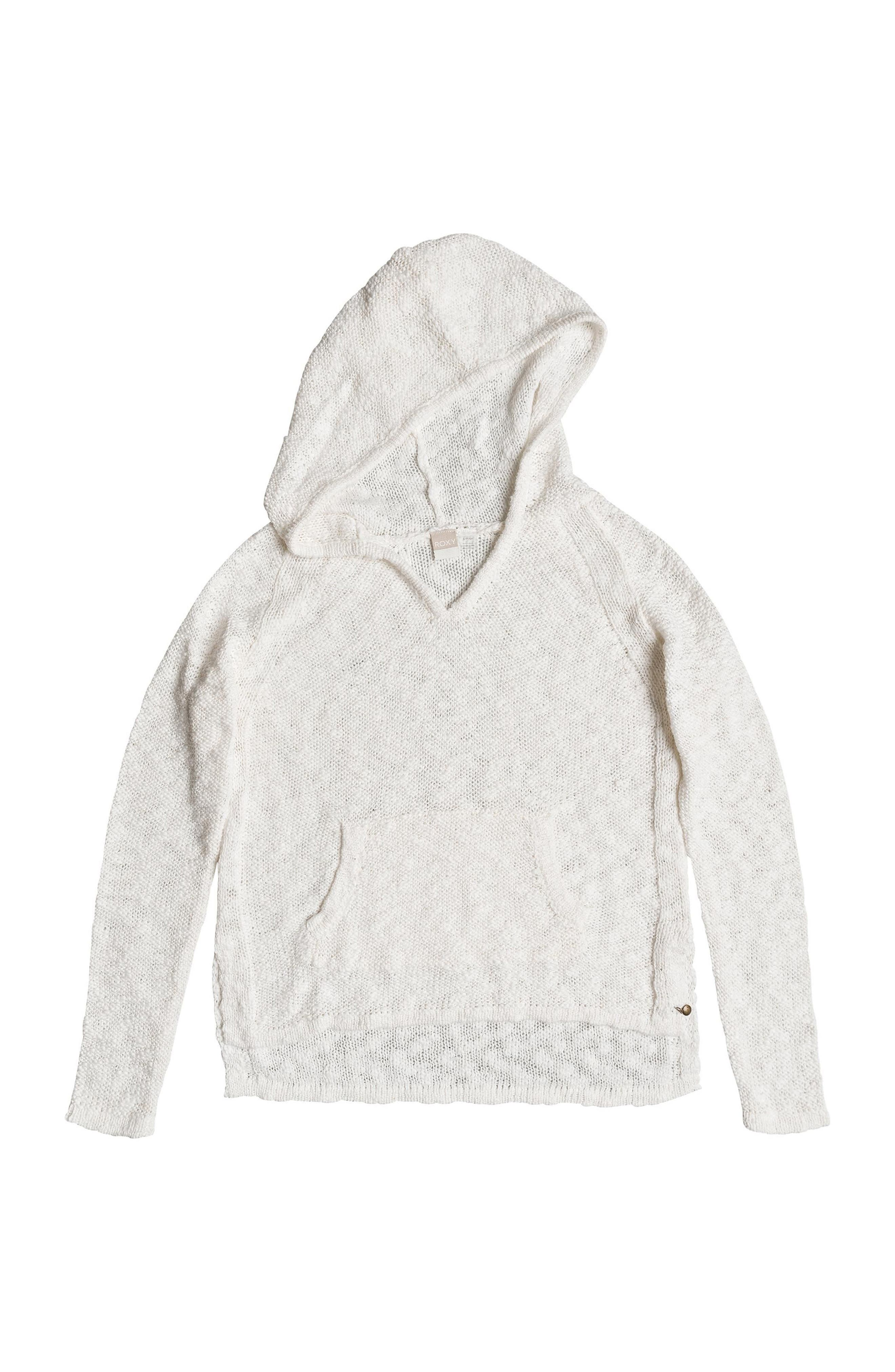 Slouchy Morning Cotton Knit Hoodie,                             Alternate thumbnail 4, color,                             Marshmallow