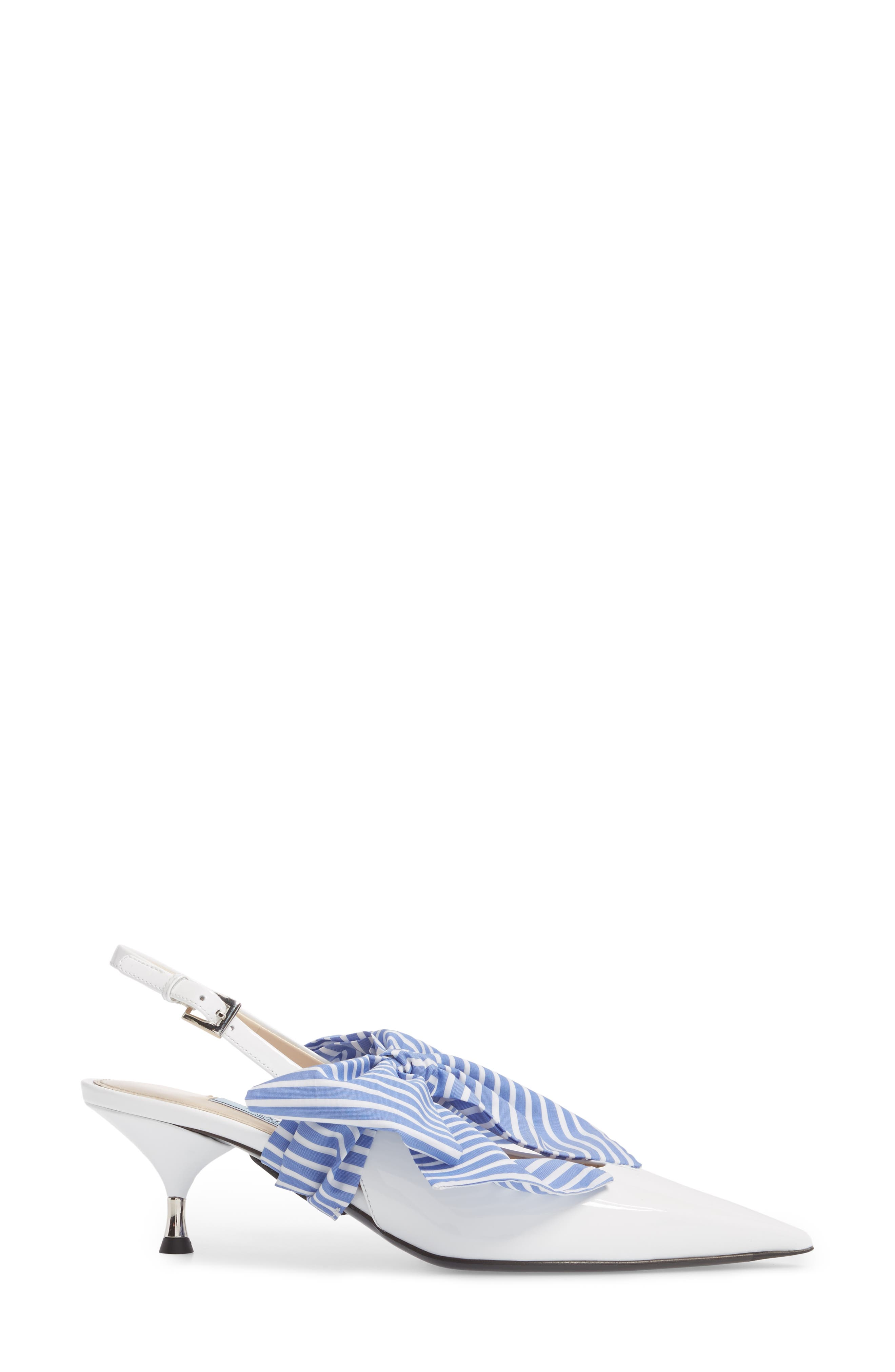 Bow Pointy Toe Pump,                             Alternate thumbnail 3, color,                             White
