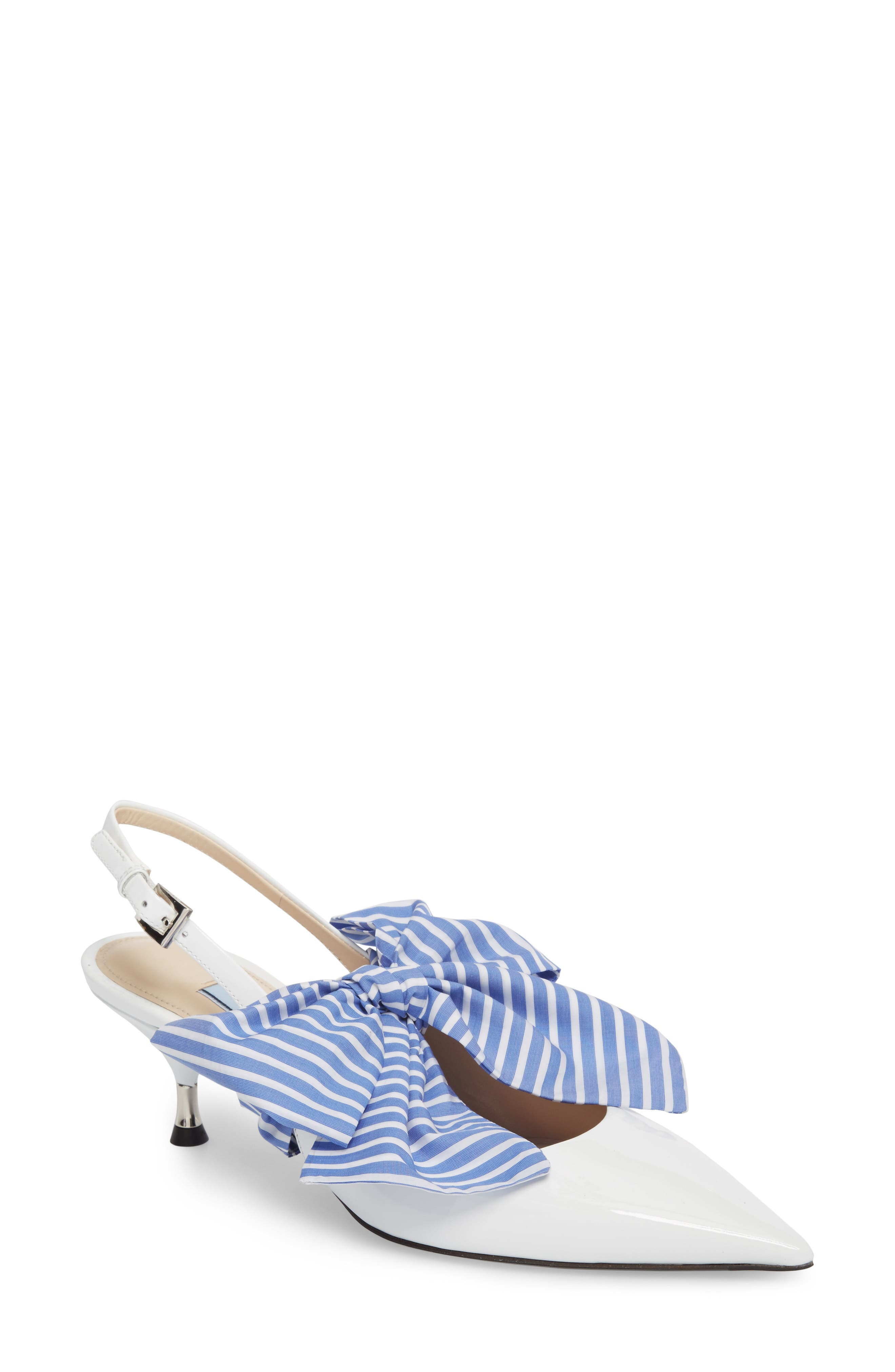 Bow Pointy Toe Pump,                         Main,                         color, White