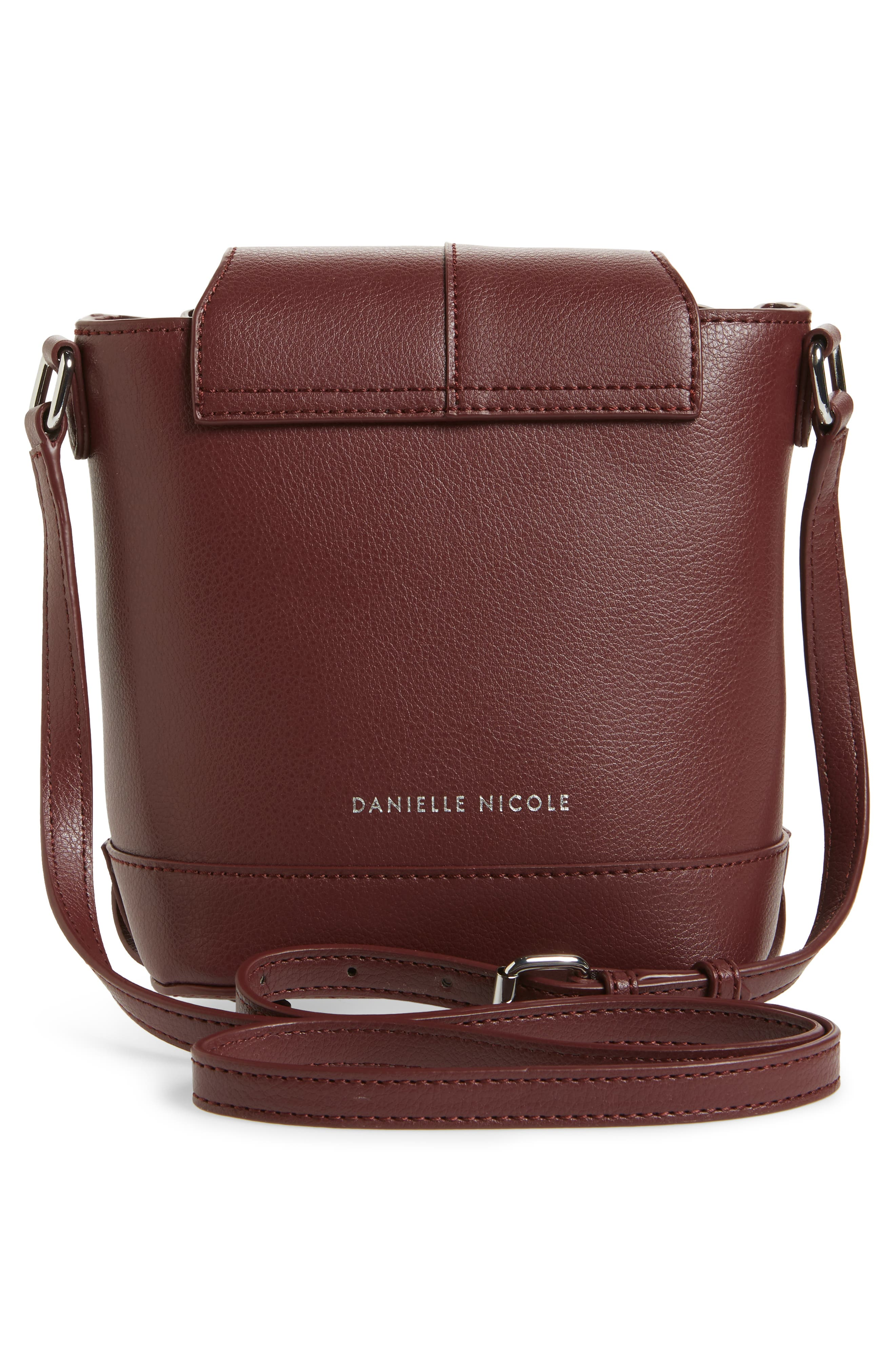 Beckett Leather Crossbody Bag,                             Alternate thumbnail 3, color,                             Wine