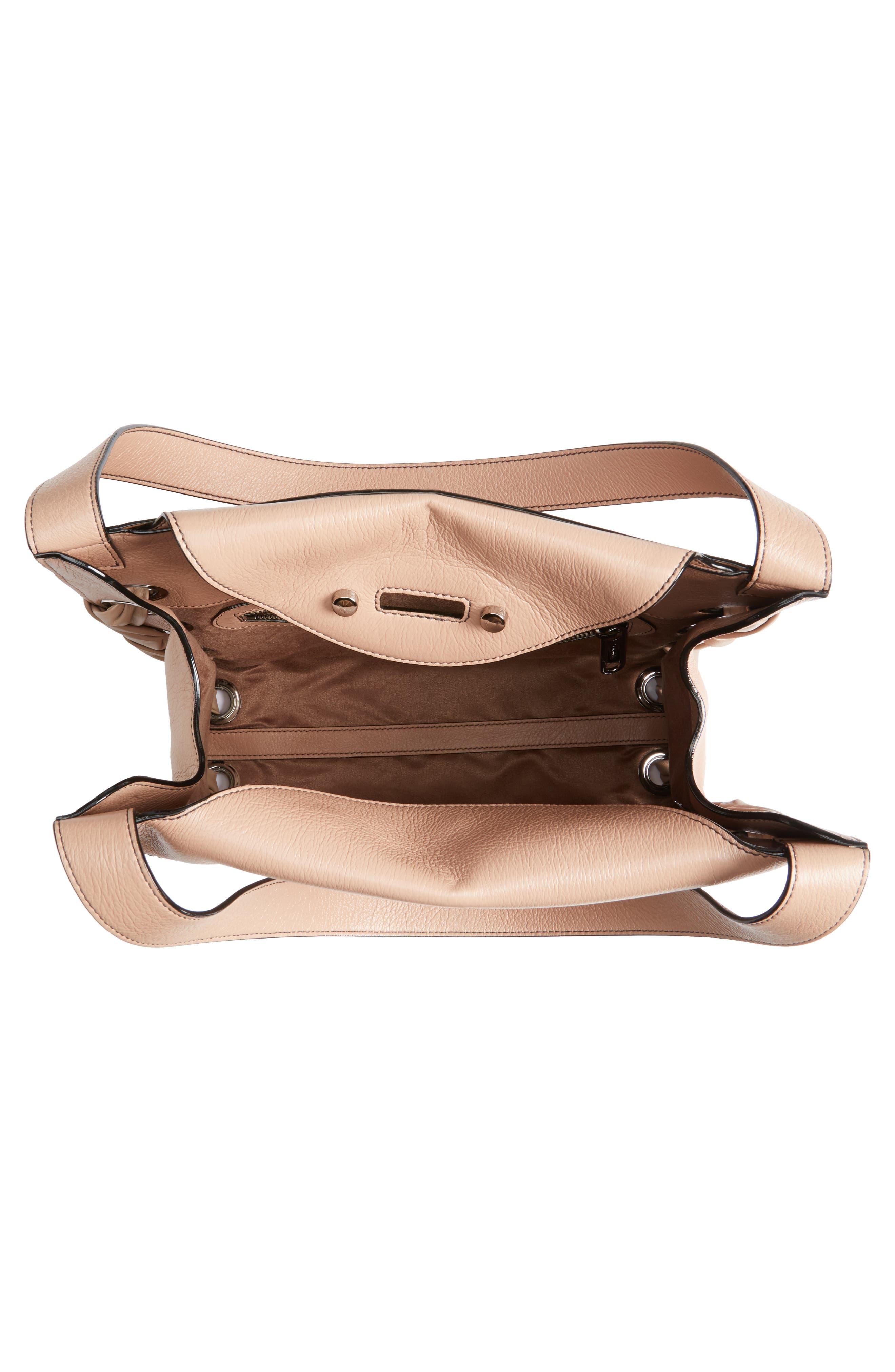 Rebel Leather Shoulder Bag,                             Alternate thumbnail 4, color,                             Ballet Pink