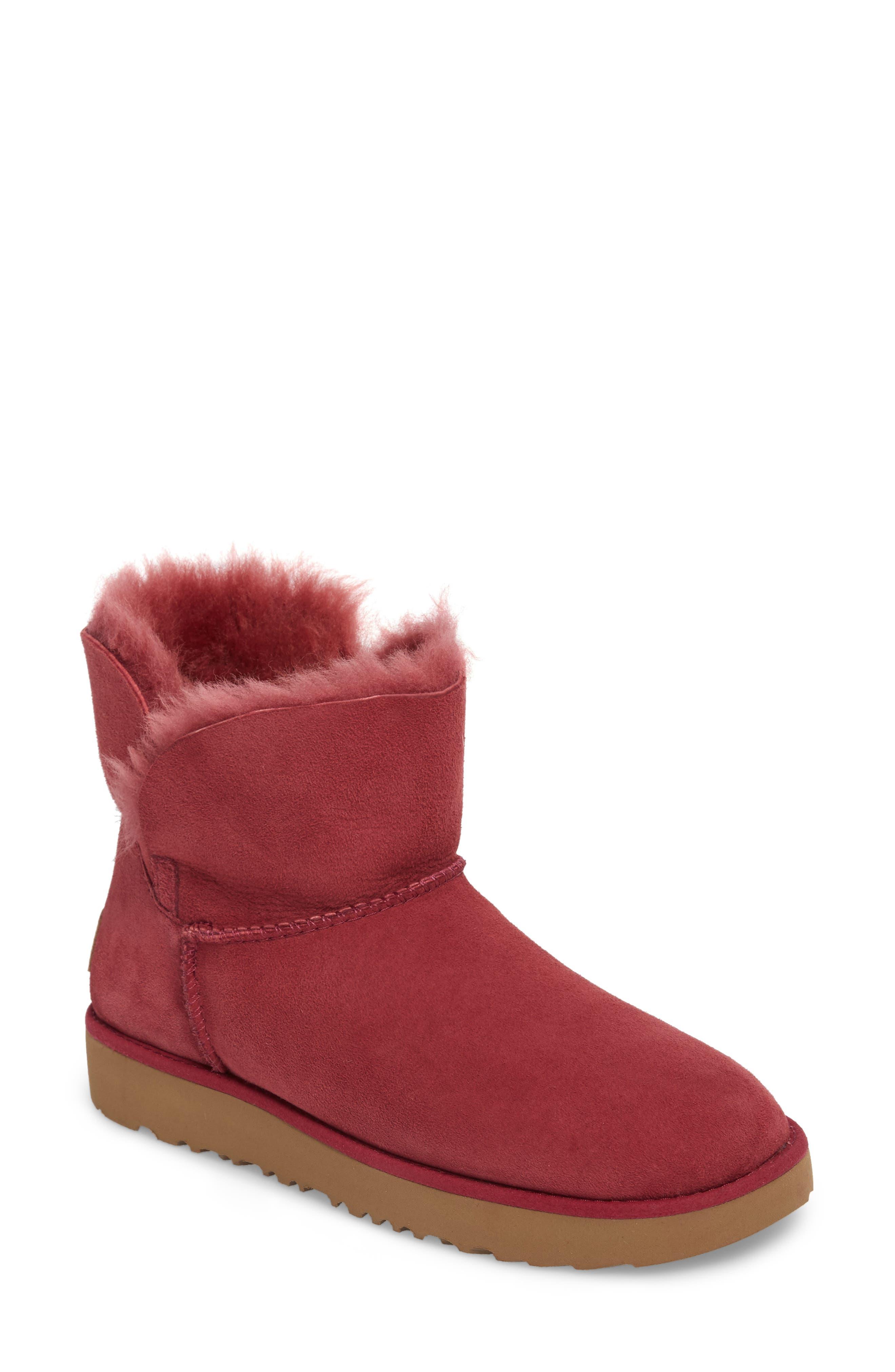 Classic Cuff Mini Boot,                         Main,                         color, Garnet Suede