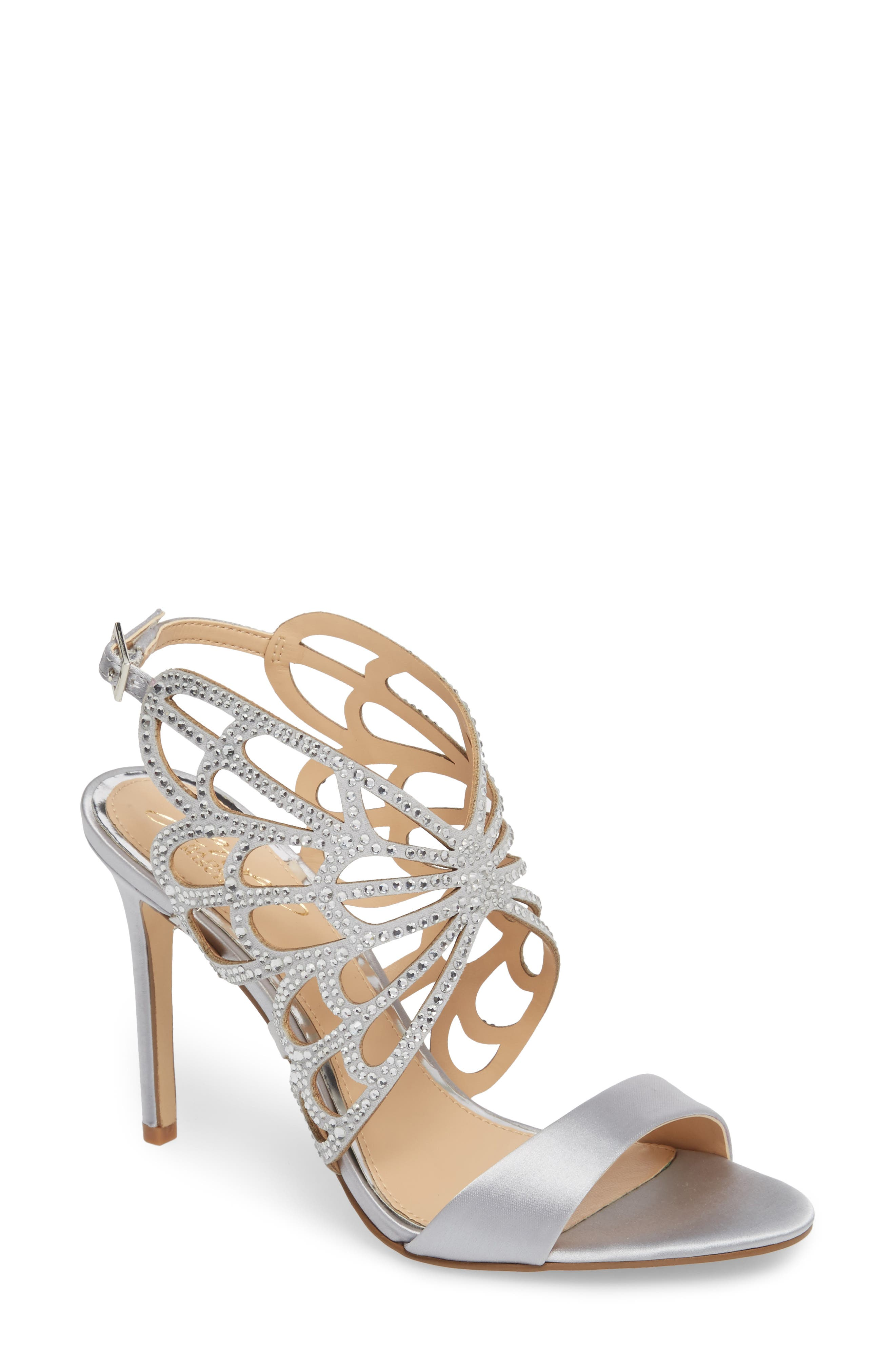 Taresa Crystal Embellished Butterfly Sandal,                             Main thumbnail 1, color,                             Silver Satin