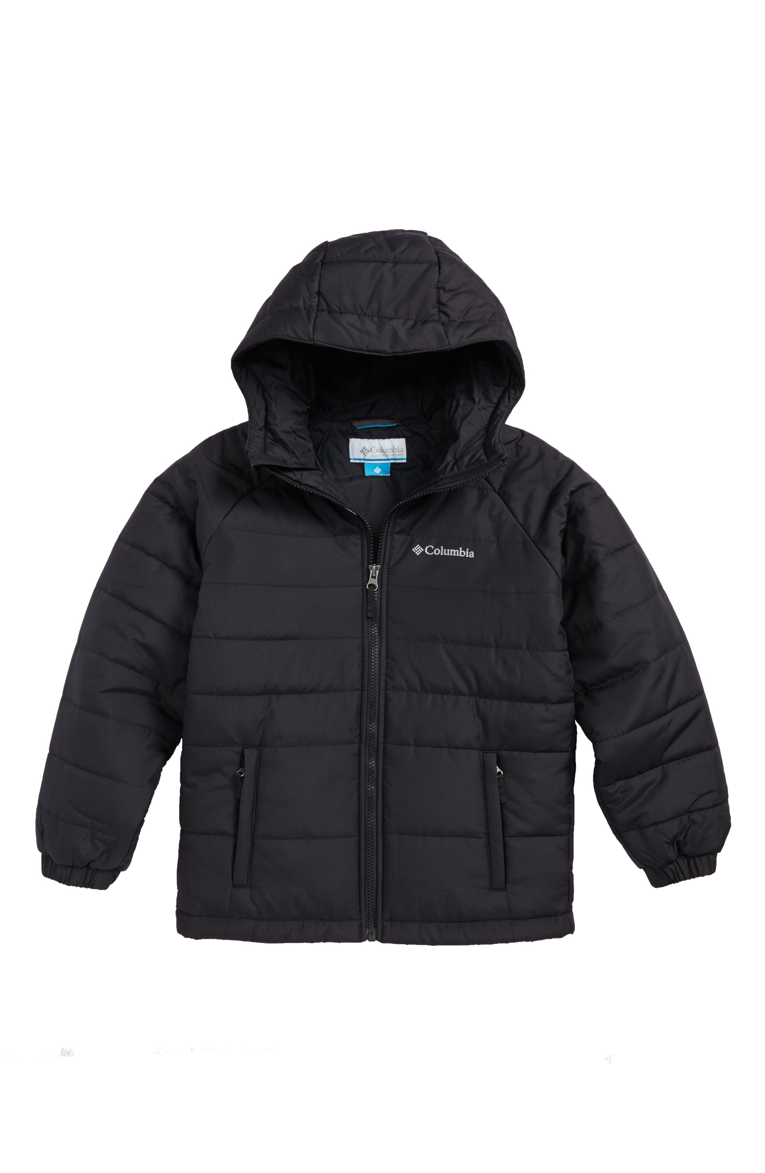 Tree Time Water Resistant Puffer Jacket,                         Main,                         color, Black