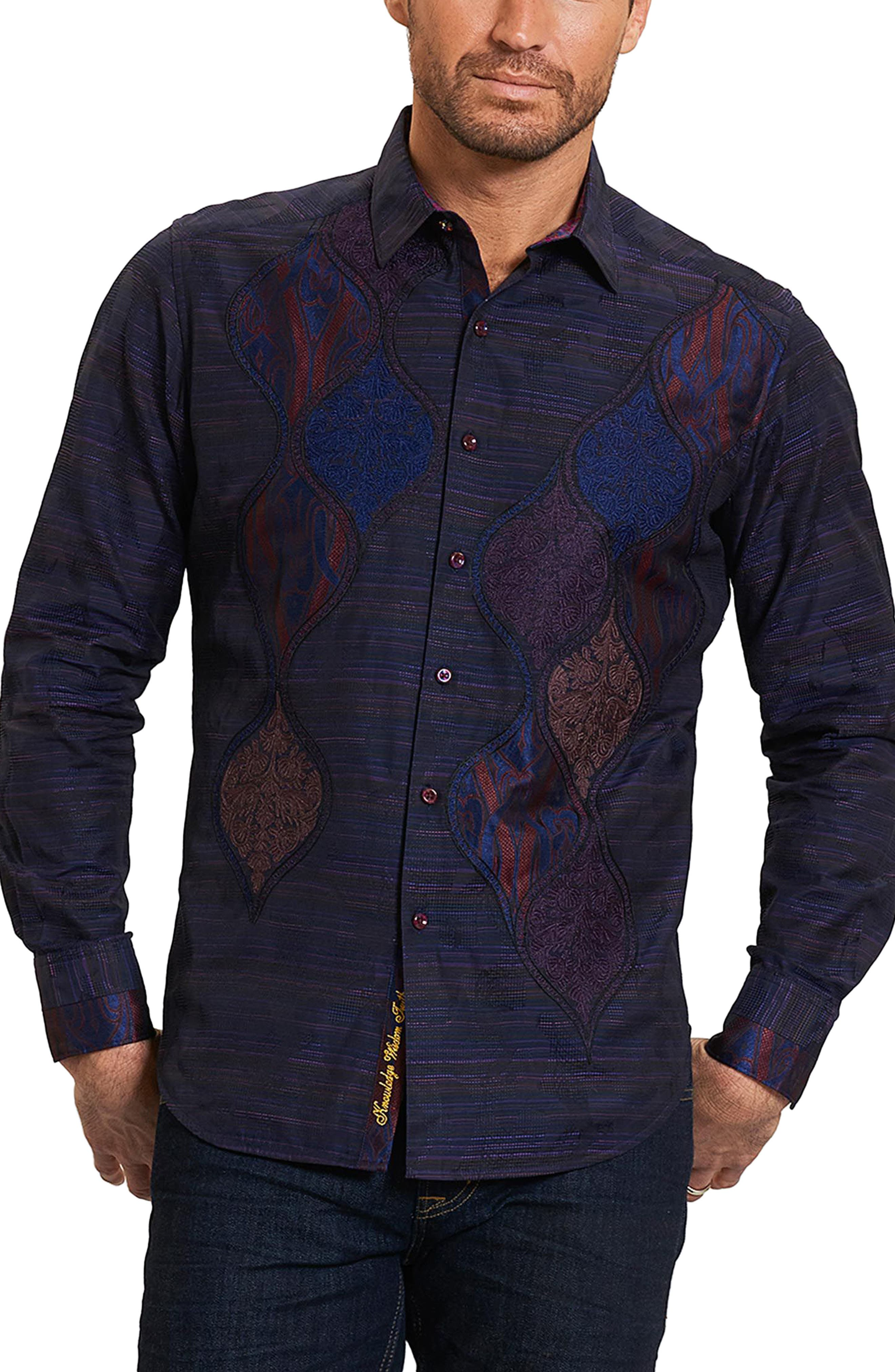 El Rey Classic Fit Embroidered Sport Shirt,                         Main,                         color, Purple