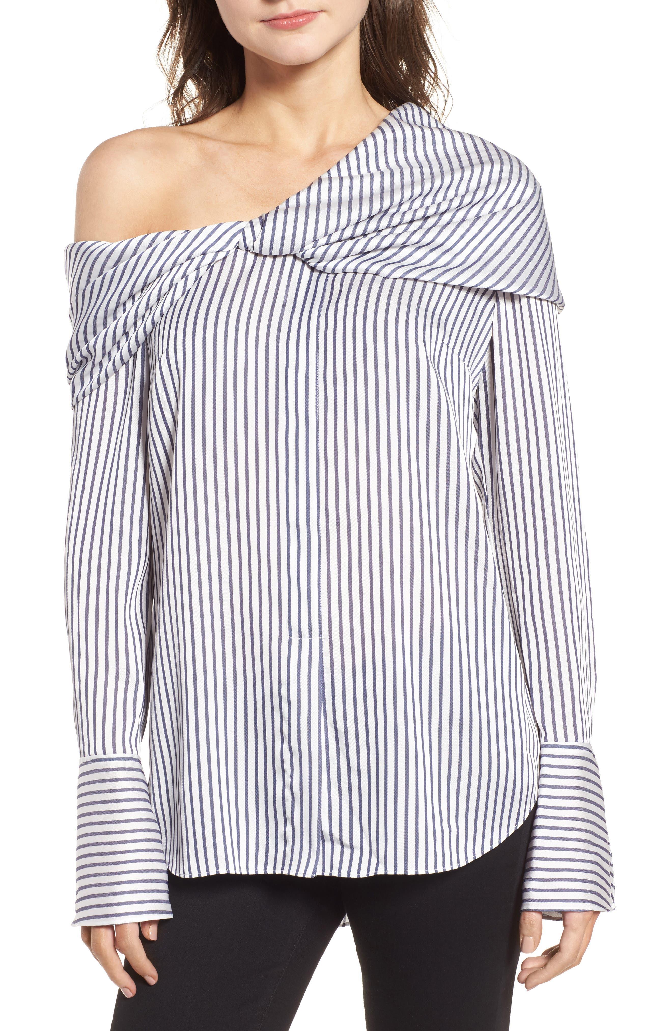 Trouvé Stripe One-Shoulder Top