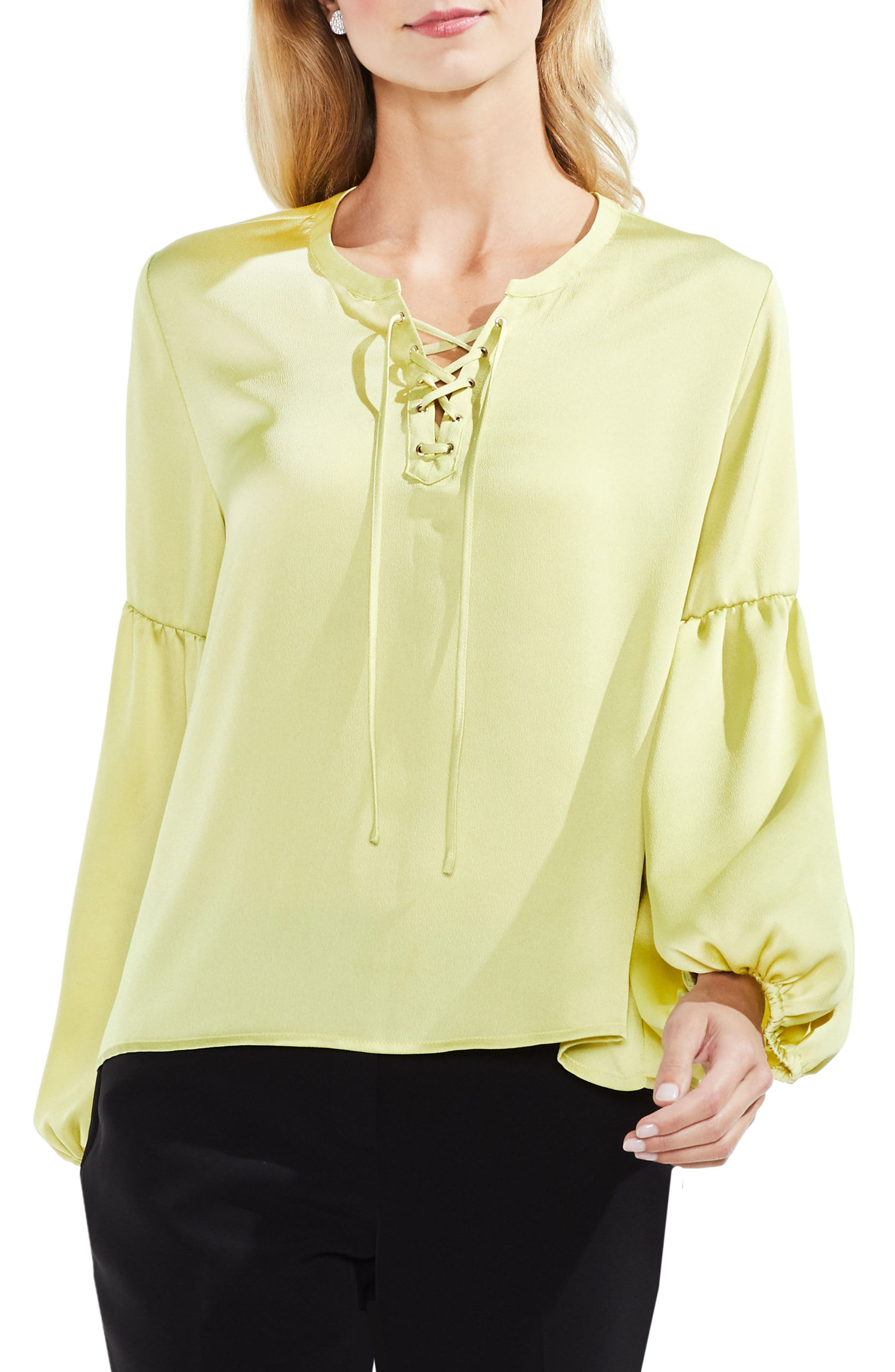 Lace-Up Hammered Satin Blouse,                             Main thumbnail 1, color,                             Mint Lime