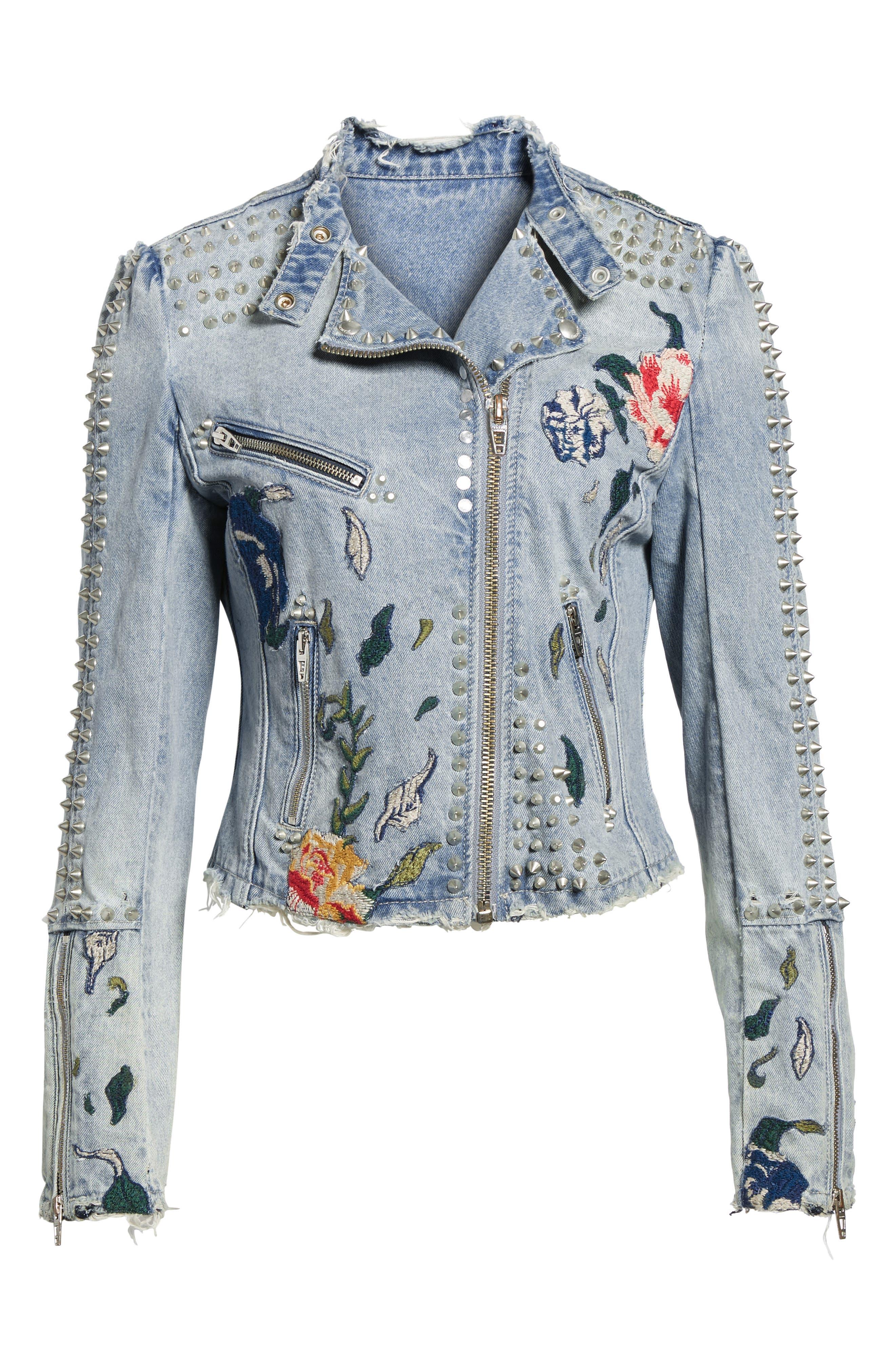 Alternate Image 6  - BLANKNYC Sea of Flowers Studded Denim Moto Jacket