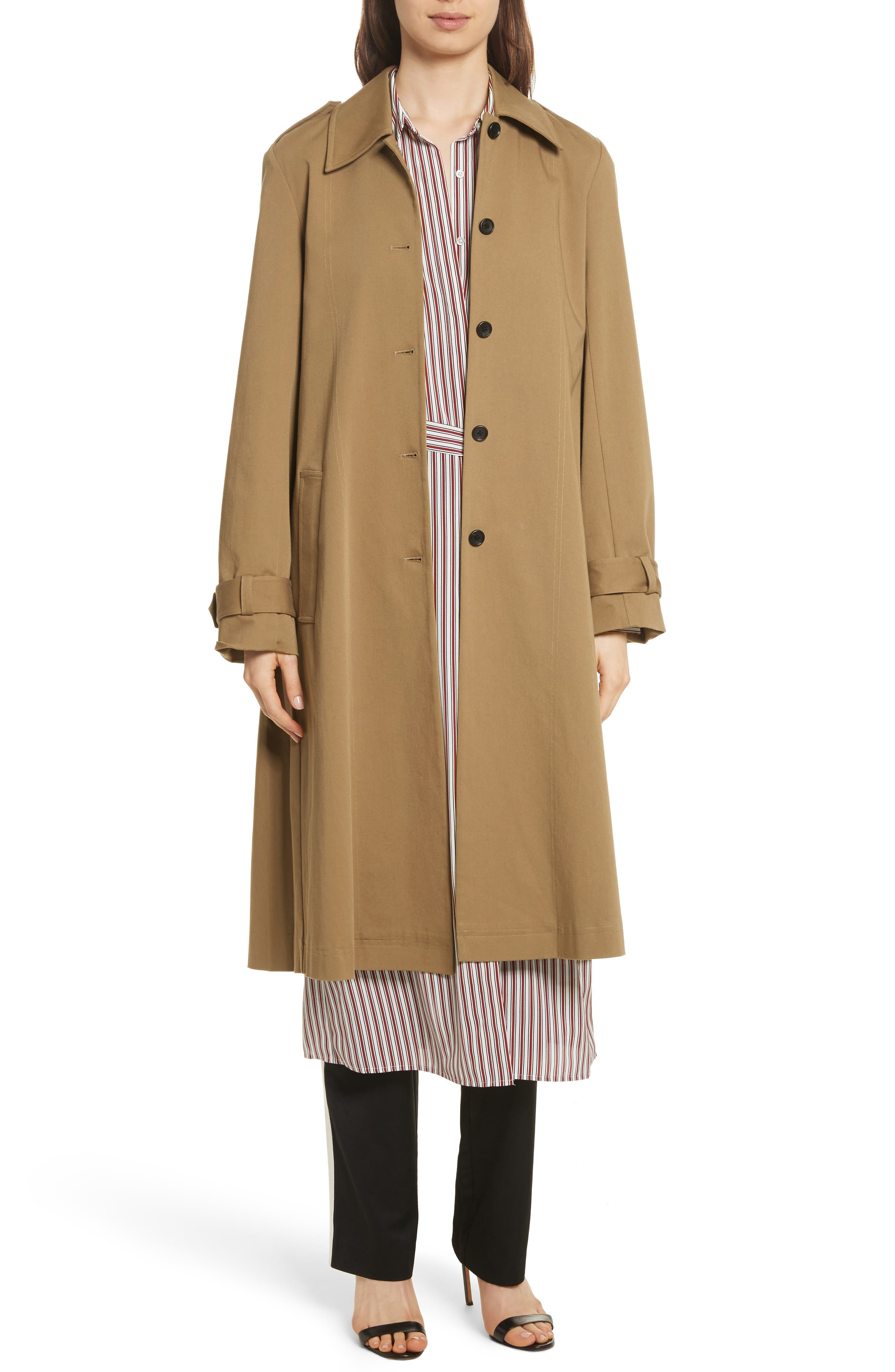 Pleat Back Trench Coat,                         Main,                         color, Camel