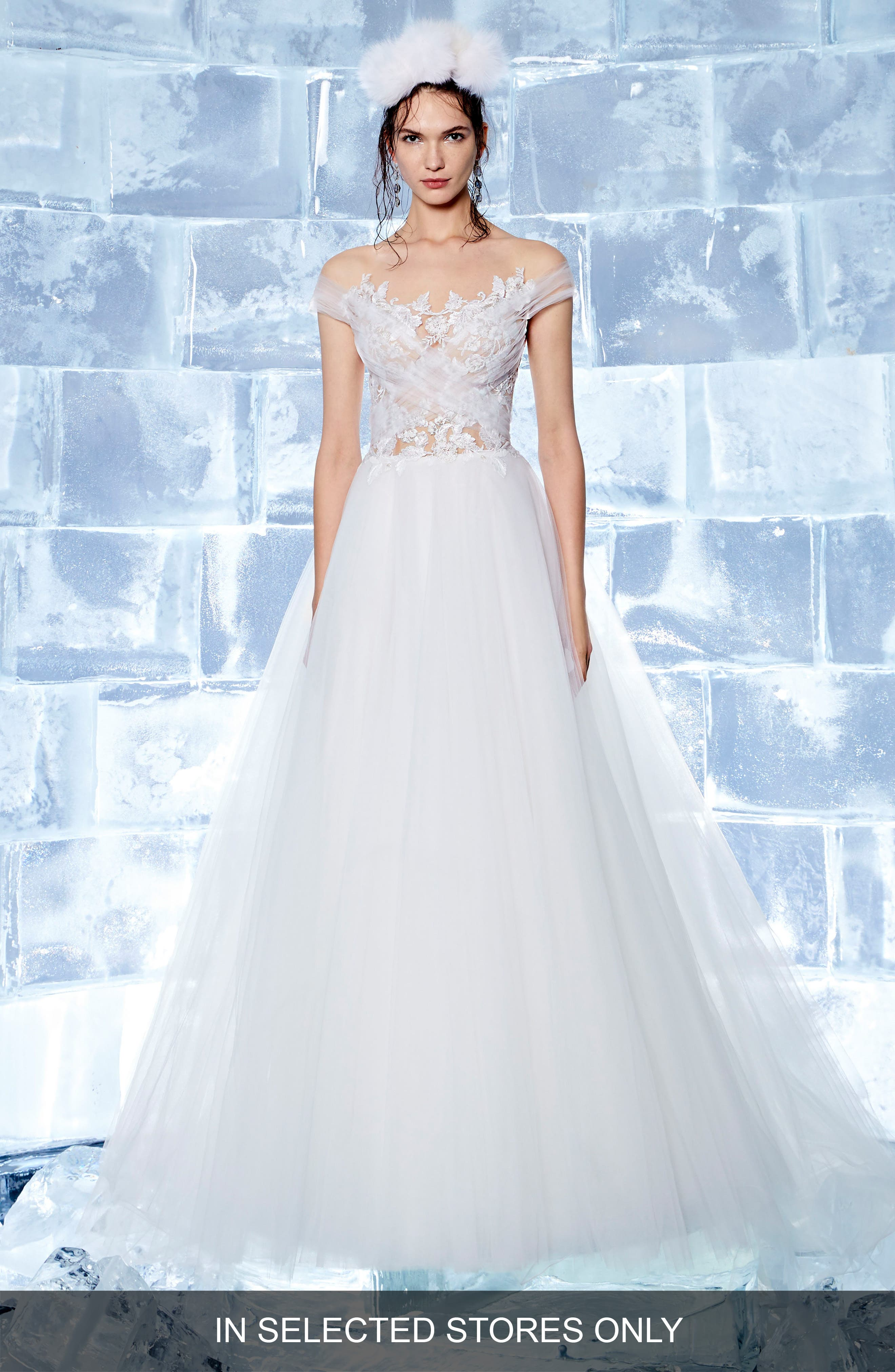 Neive Off the Shoulder Ballgown,                             Main thumbnail 1, color,                             Off White