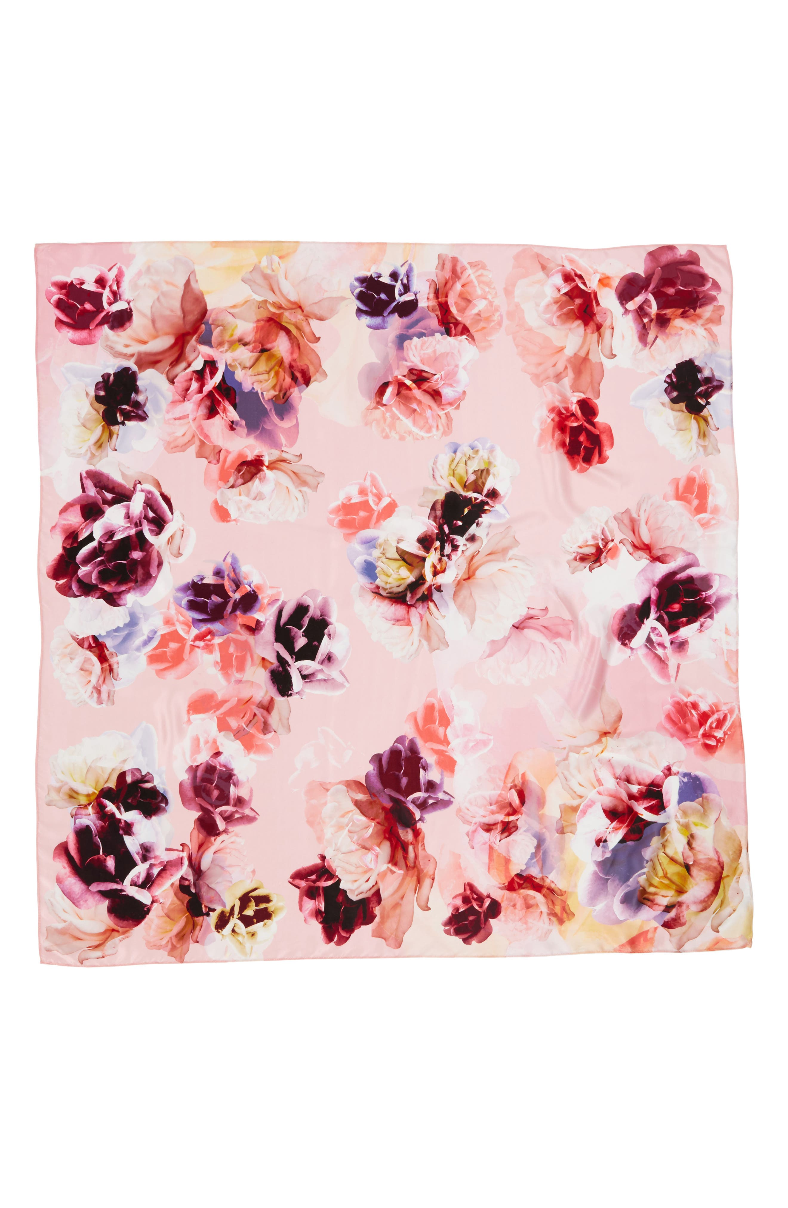 Print Silk Square Scarf,                             Alternate thumbnail 3, color,                             Coral Fresh Blooms