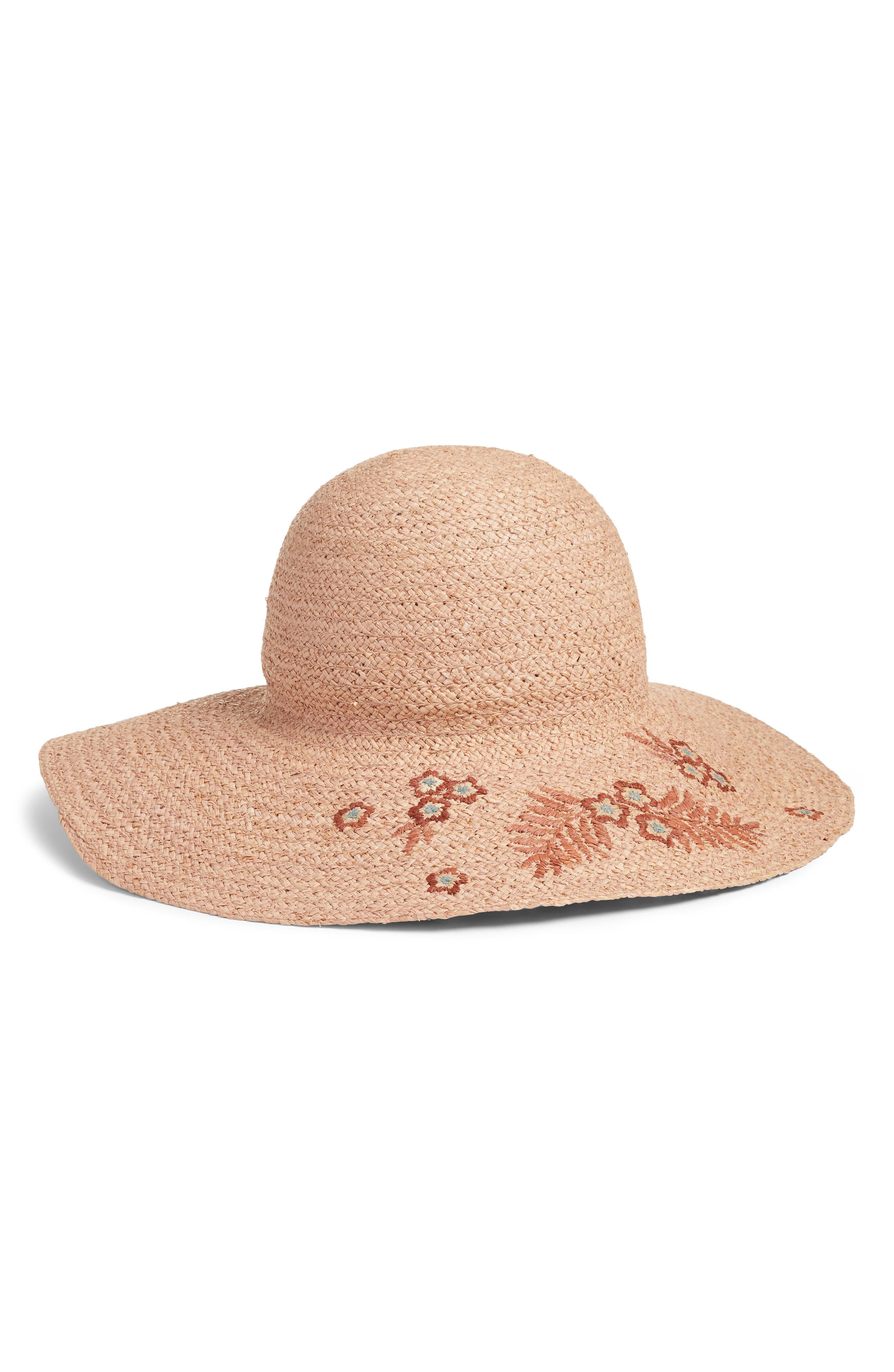 Flower Embroidered Raffia Hat,                         Main,                         color, Coral Sand