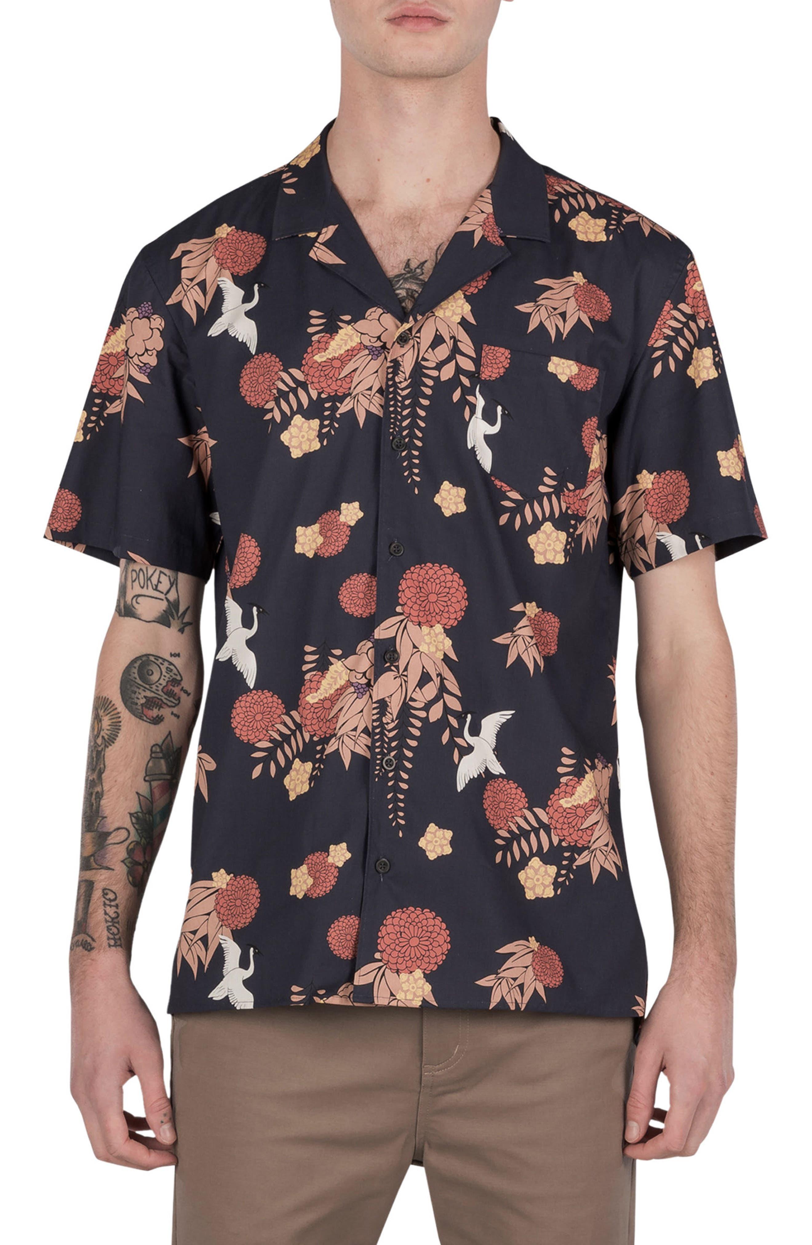 Crane Short Sleeve Shirt,                         Main,                         color, Navy