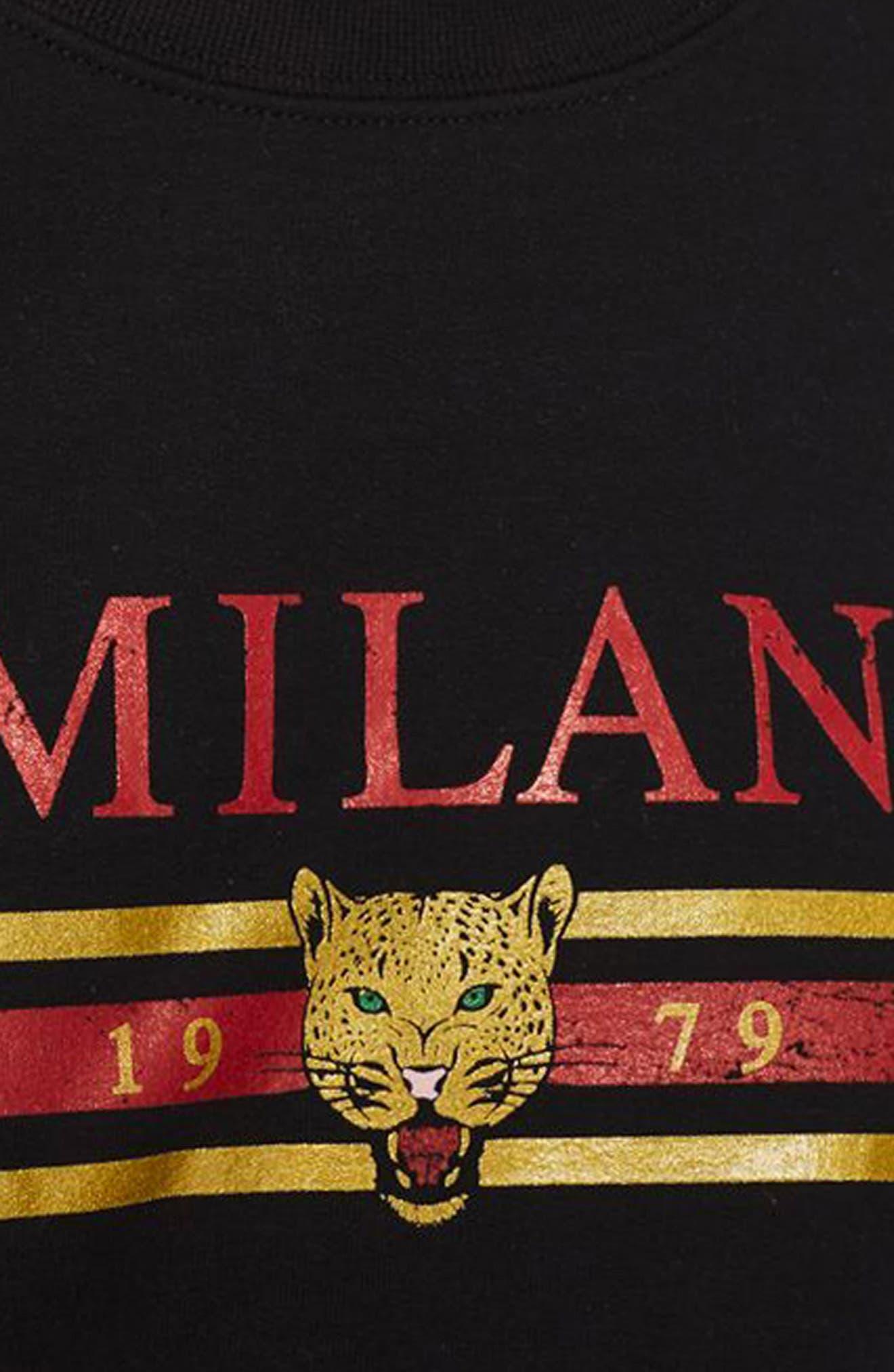 Milan Graphic Sweatshirt,                             Alternate thumbnail 3, color,                             Black Multi