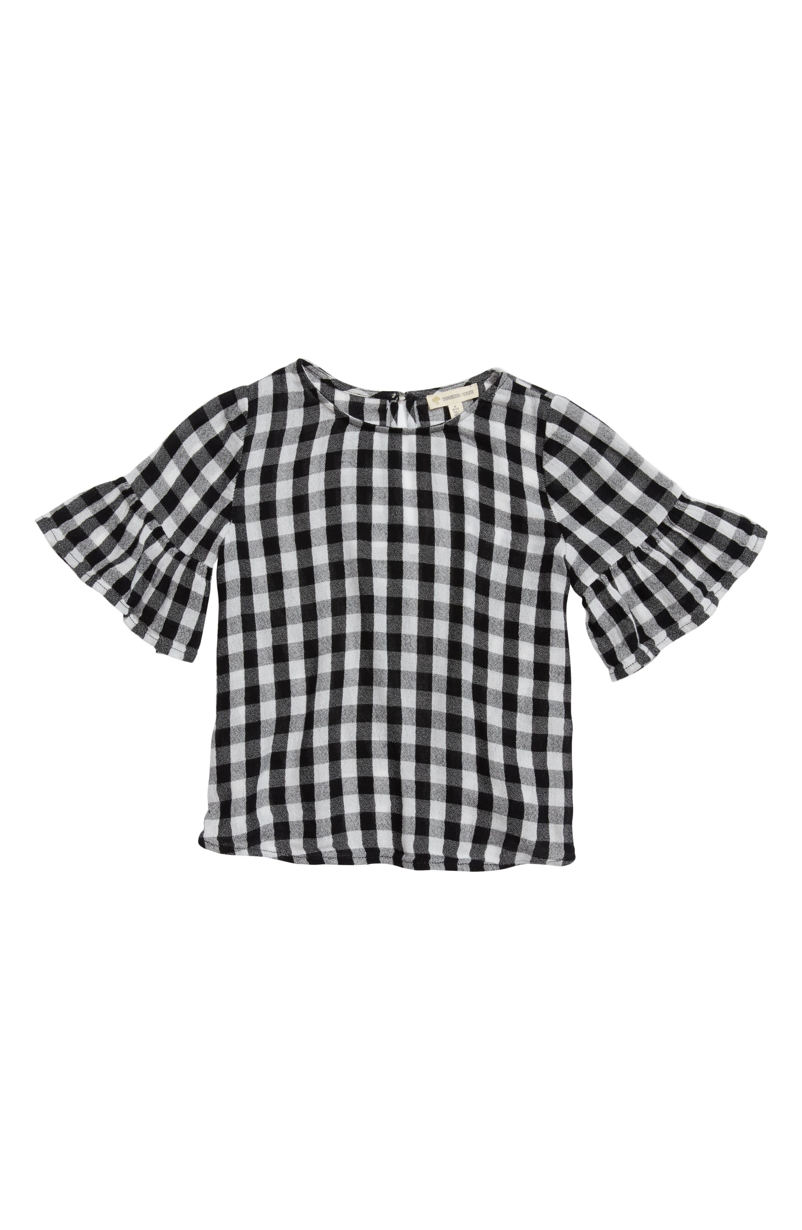 Bell Sleeve Top,                             Main thumbnail 1, color,                             Black- White Gingham