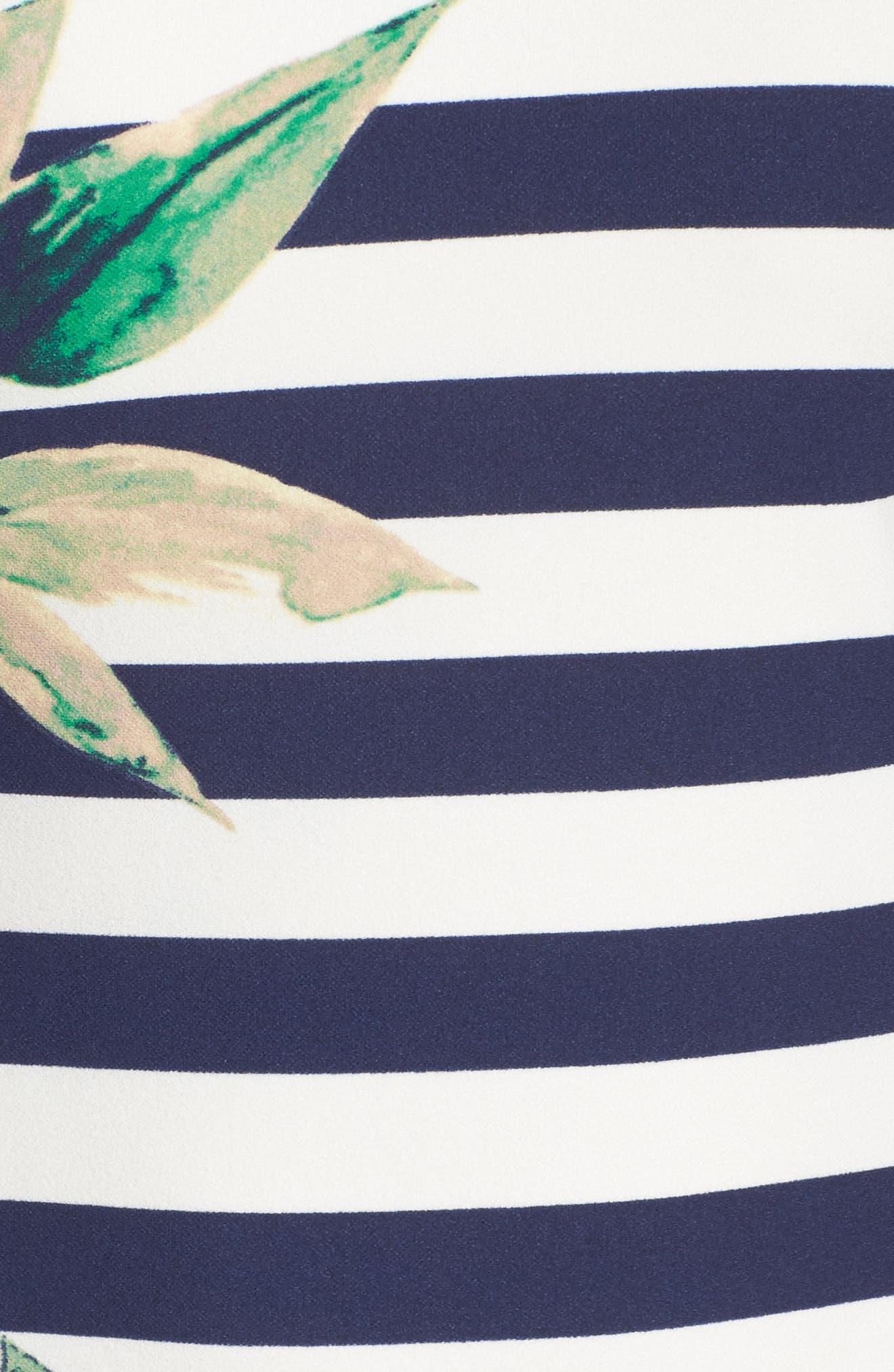 Stripe Off the Shoulder Dress,                             Alternate thumbnail 5, color,                             Navy