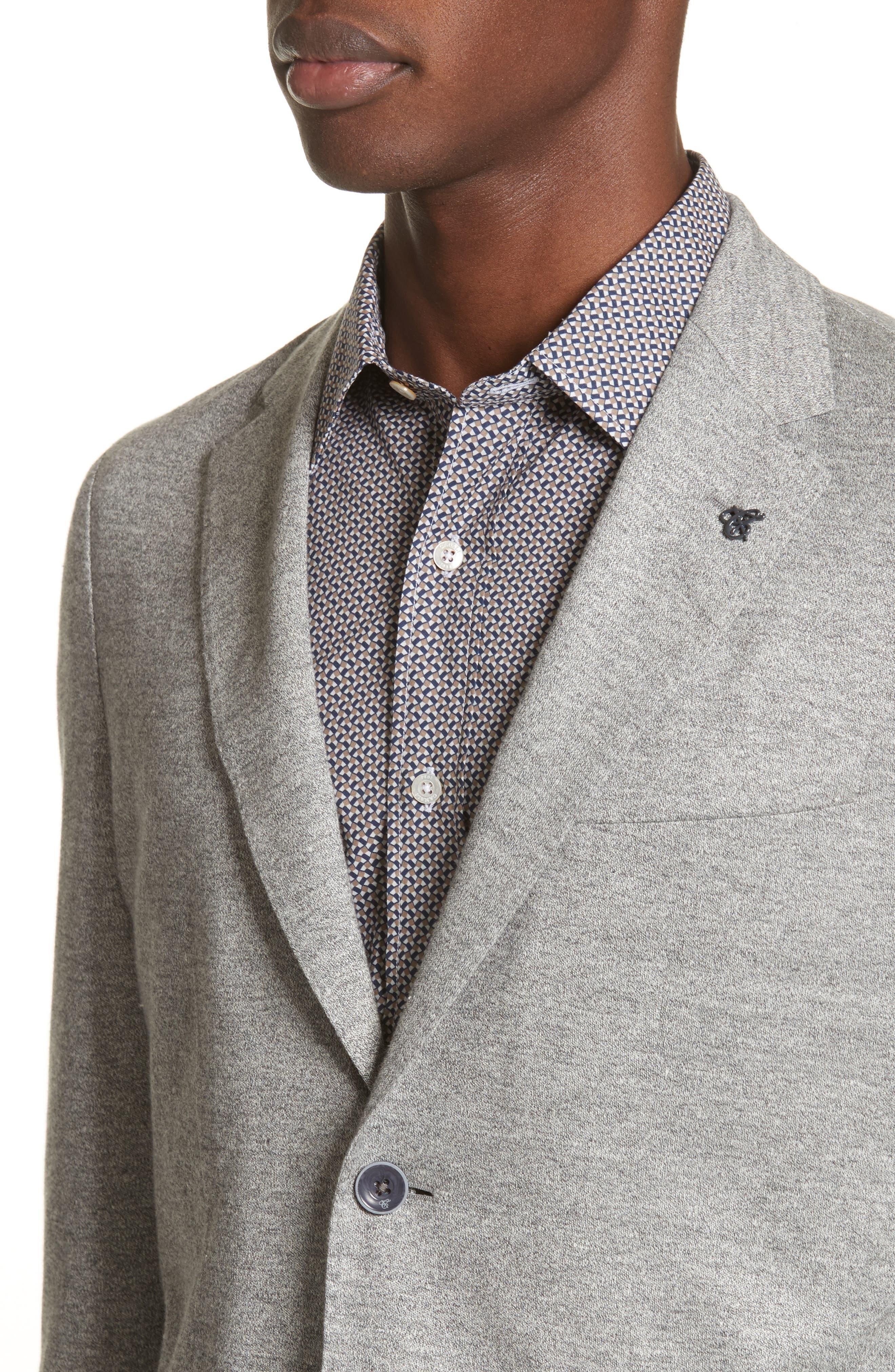 Trim Fit Washed Jersey Jacket,                             Alternate thumbnail 4, color,                             Light Grey
