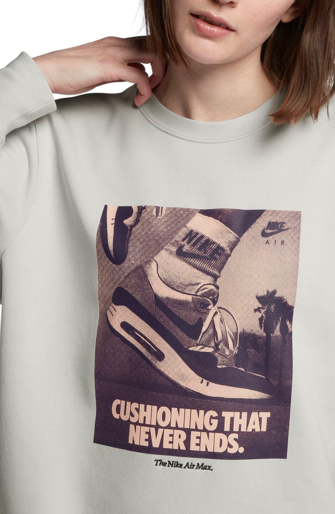 Sportswear Air Max 1 Women's Graphic Crewneck Sweatshirt,                             Alternate thumbnail 3, color,                             Vast Grey